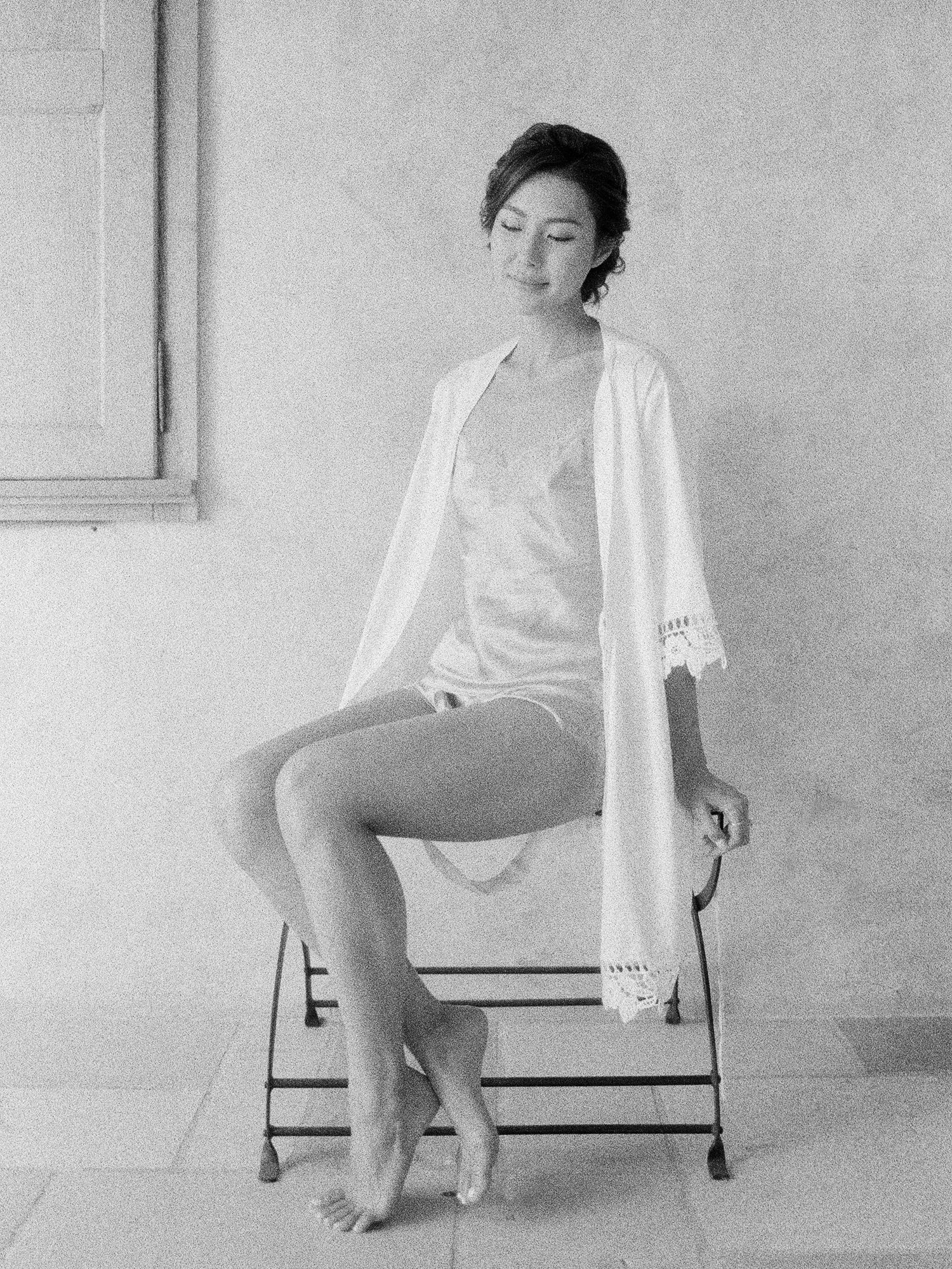 Film black and white portrait silk chemise robe Jen Huang Los Angeles wedding photographer