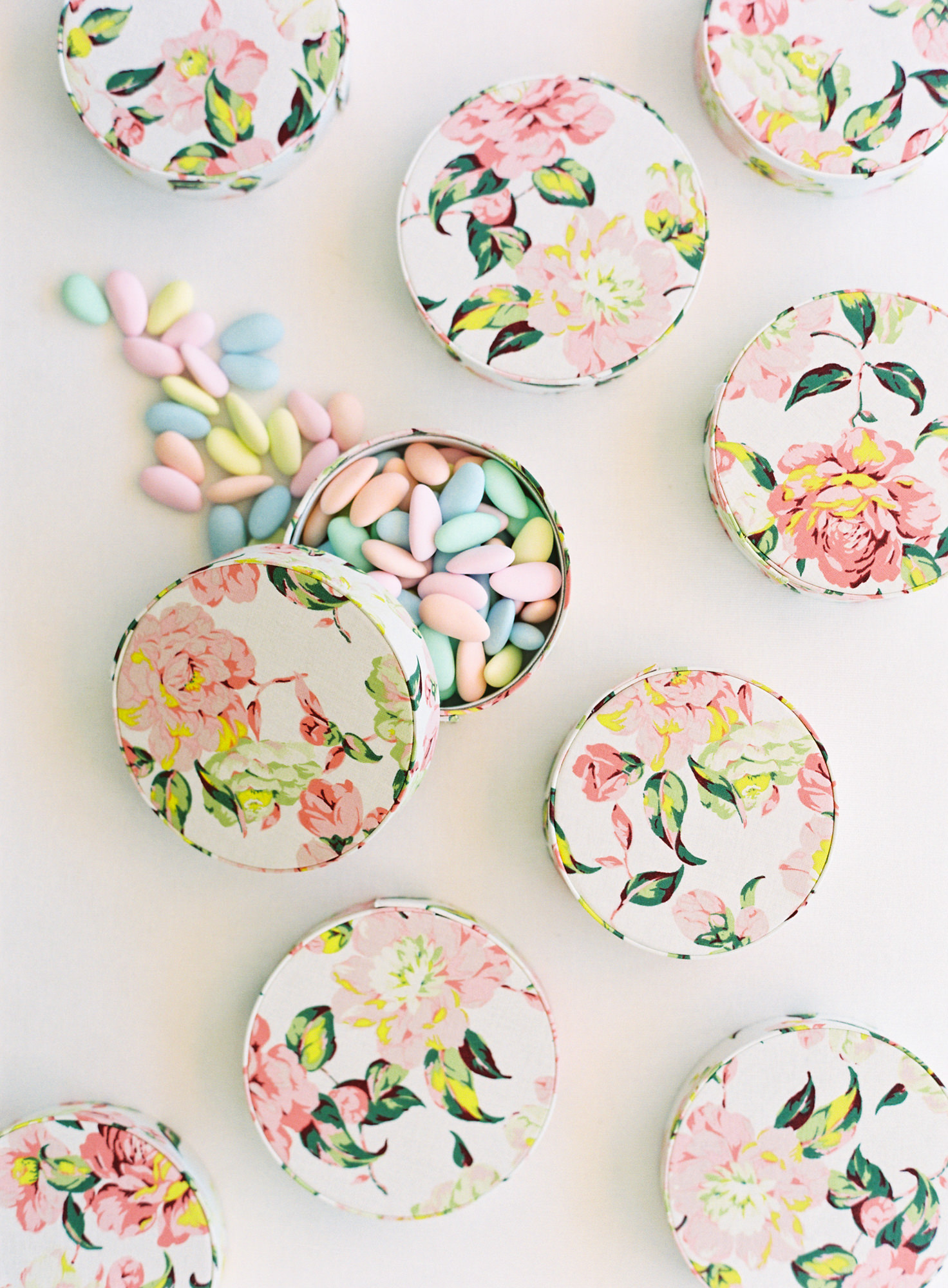 Small floral candy boxes, wedding favors - Jen Huang Los Angeles wedding photographer