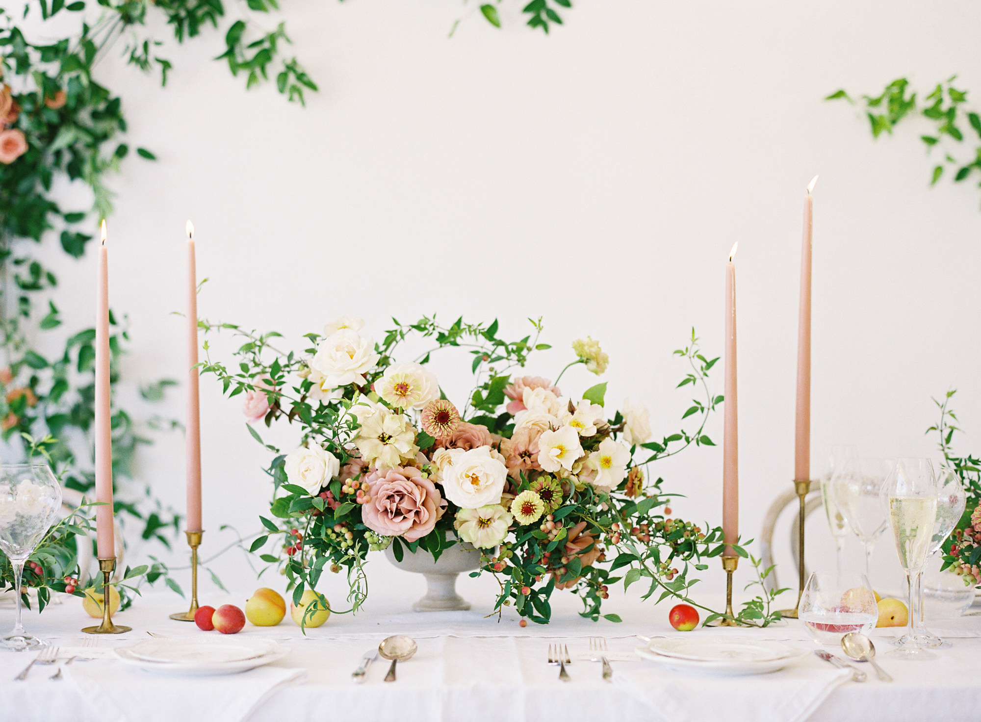Floral centerpiece ivy blush roses and blush candlesticks Jen Huang Los Angeles wedding photographer