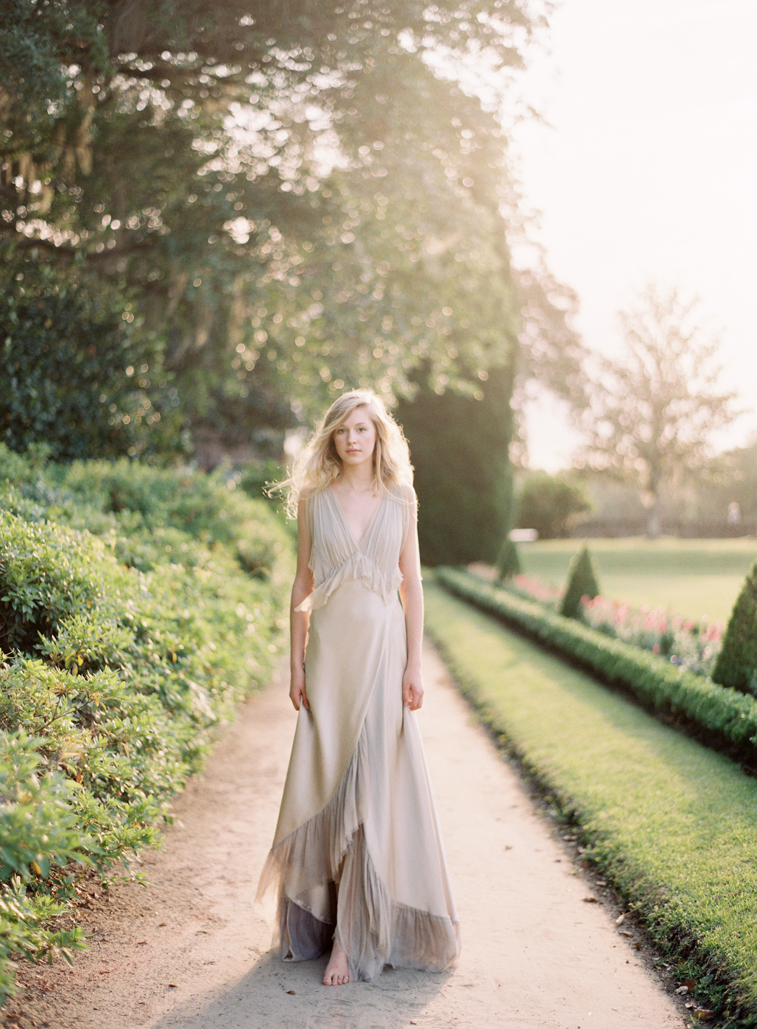 flowing silk bridal gown light silver Jen Huang Los Angeles wedding photographer