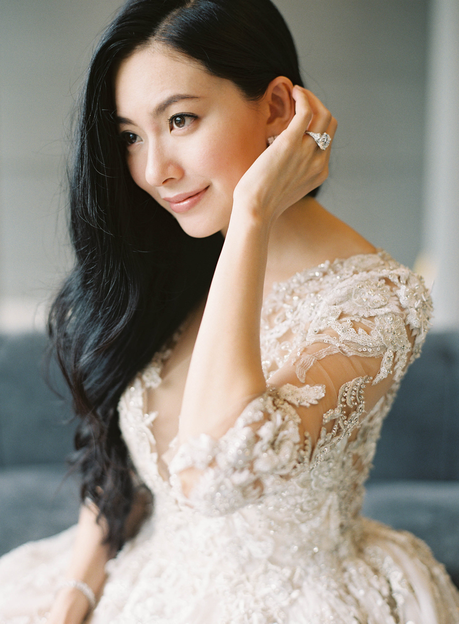 Gorgeous Asian bride with crystal applique wedding dress Jen Huang Los Angeles wedding photographer