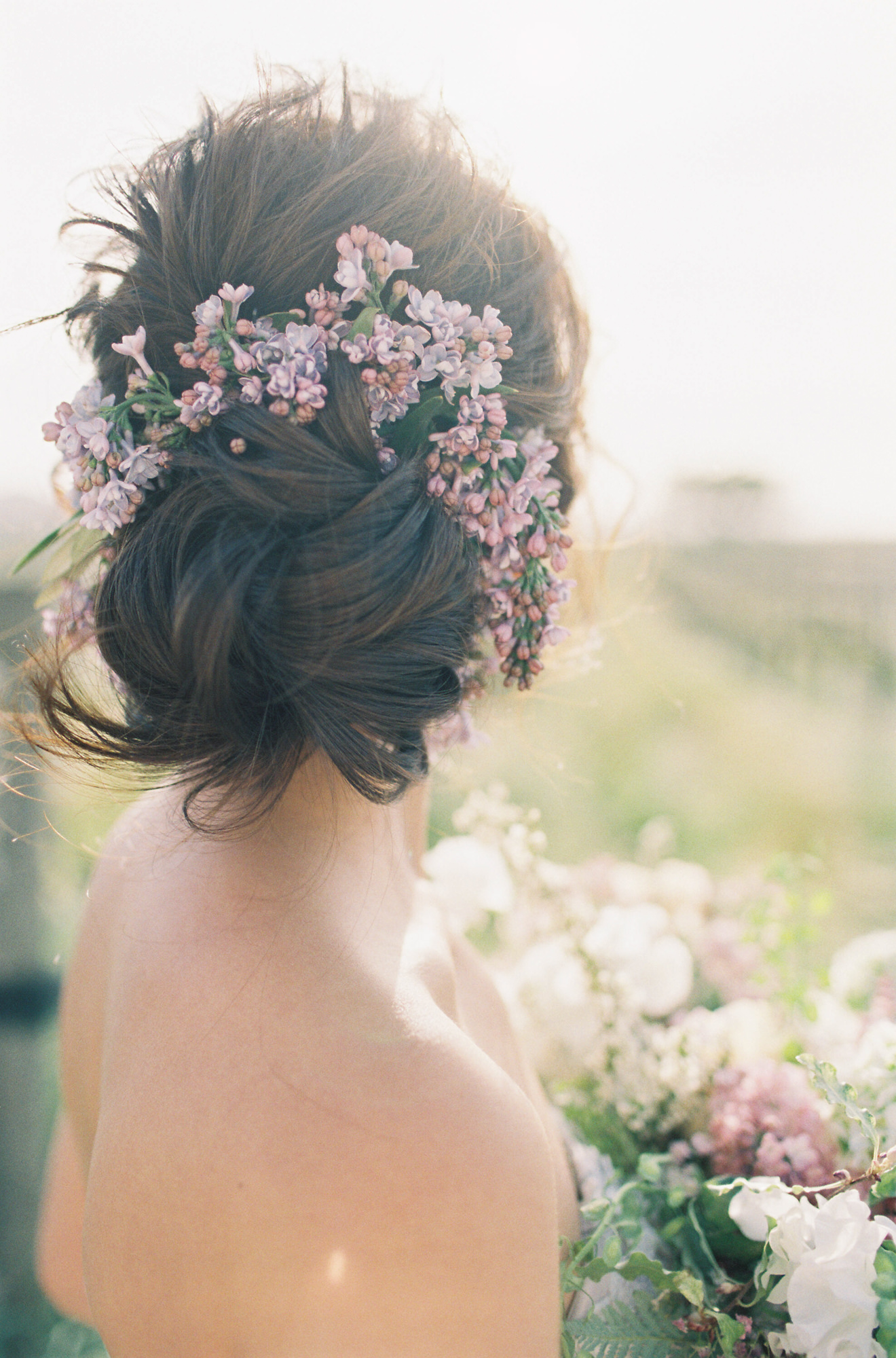 Hairstyle up-do with lilacs Jen Huang Los Angeles wedding photographer