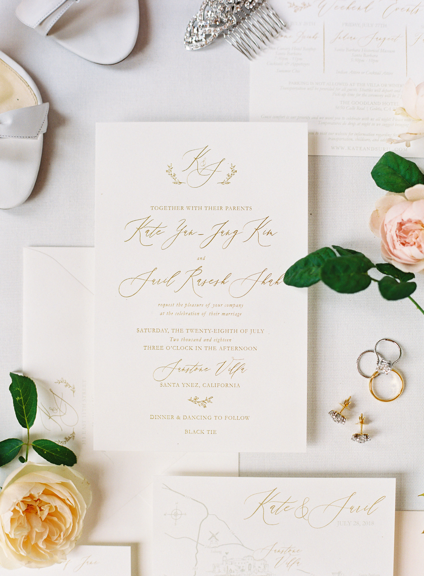 Ivory invitations gold lettering Jen Huang Los Angeles wedding photographer