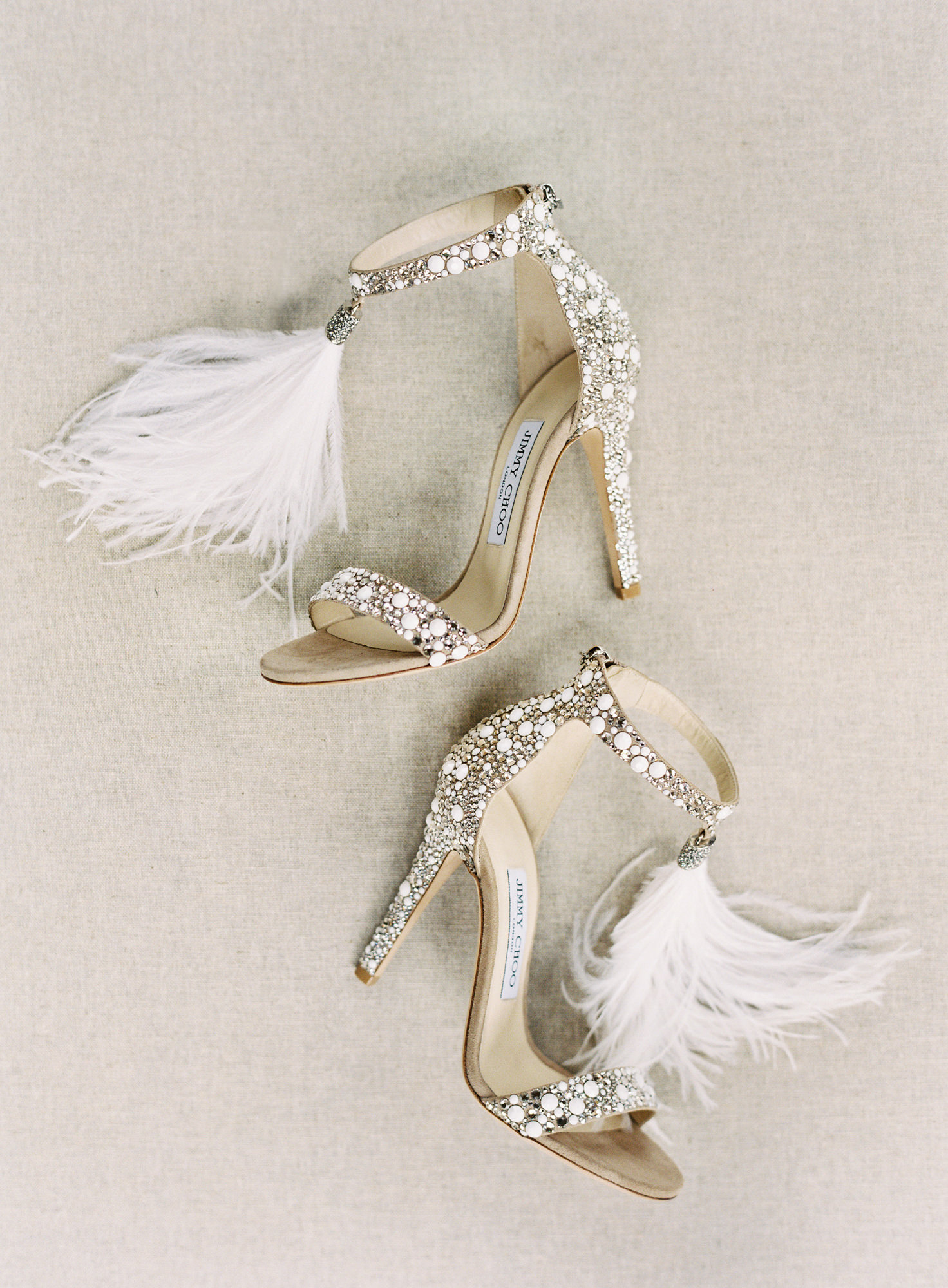 Jimmy Choo crystal feathered shoes Jen Huang Los Angeles wedding photographer