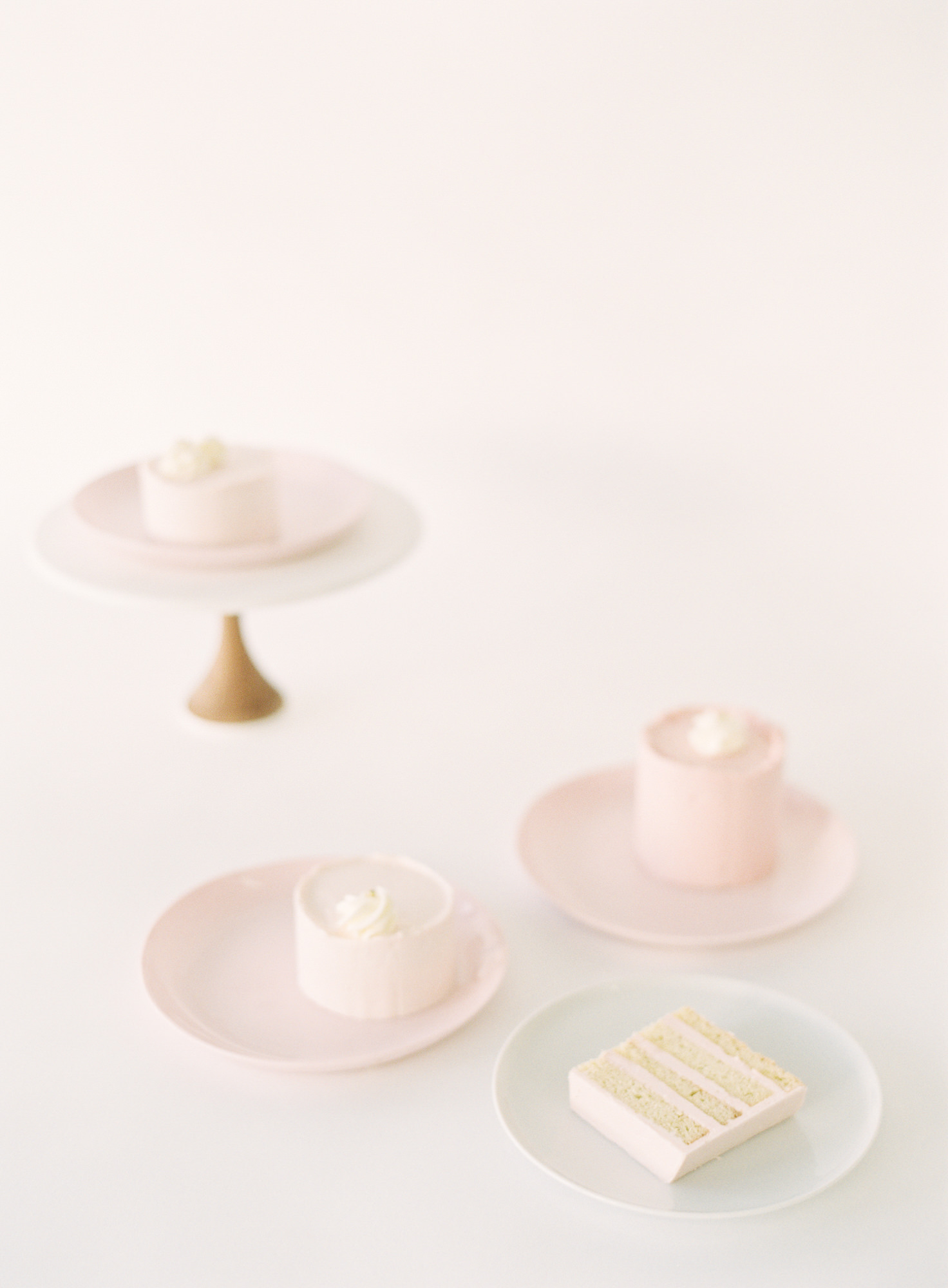 Pink wedding desserts and pink cake slices Jen Huang Los Angeles wedding photographer