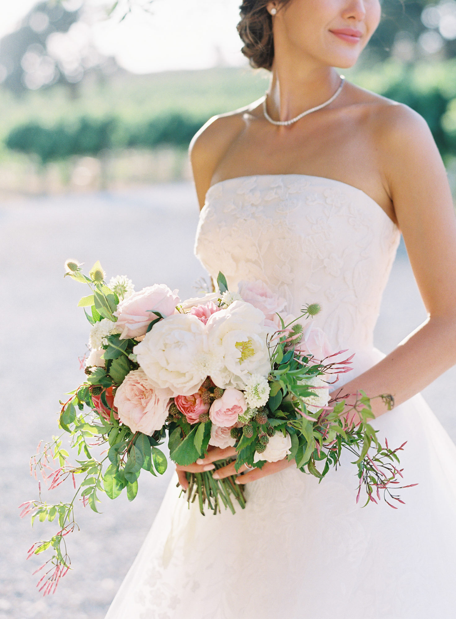 Bride with pink and white bridal bouquet Jen Huang Los Angeles wedding photographer