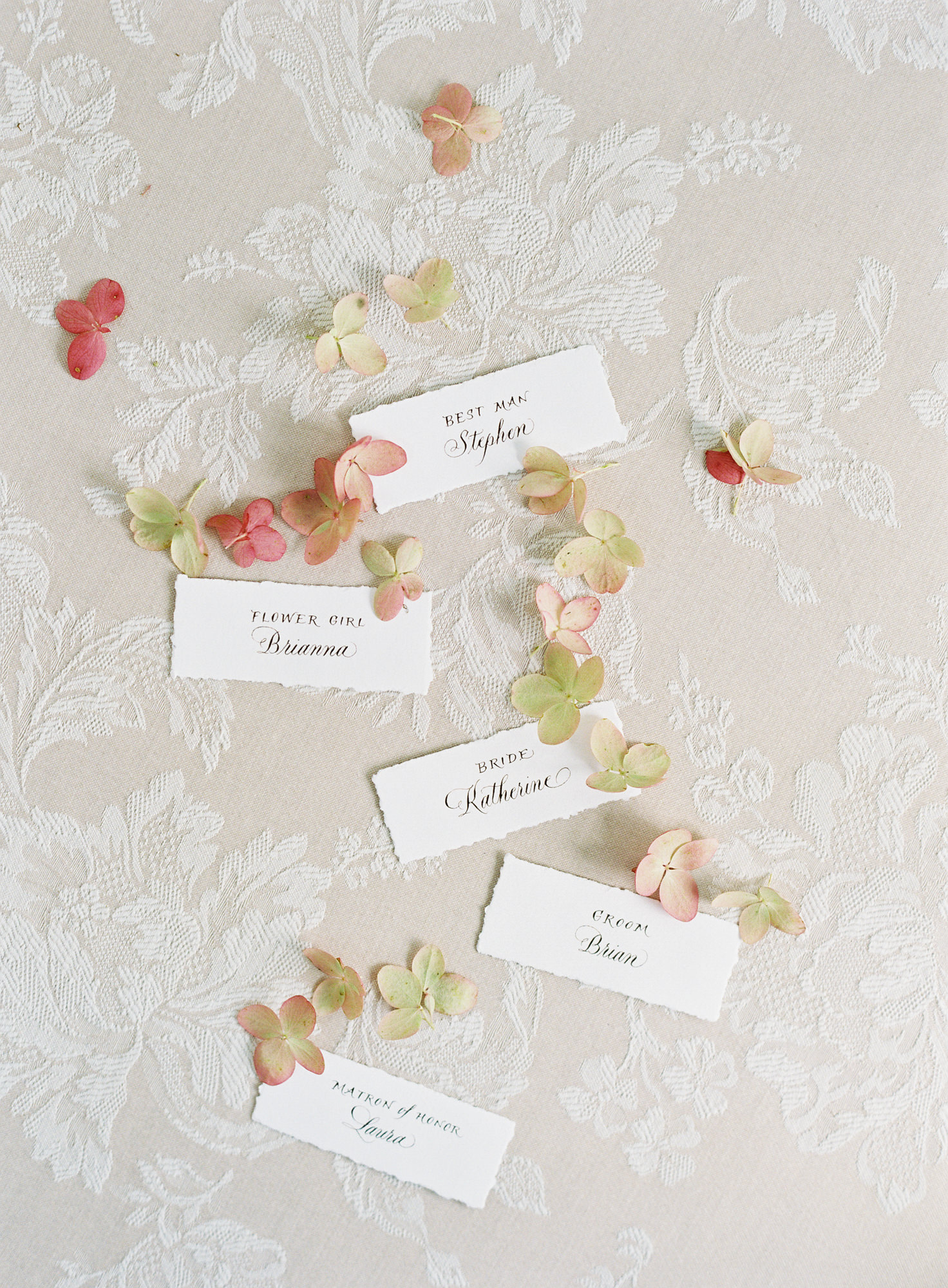 Wedding guest place cards with Hydrangea accents Jen Huang Los Angeles wedding photographer