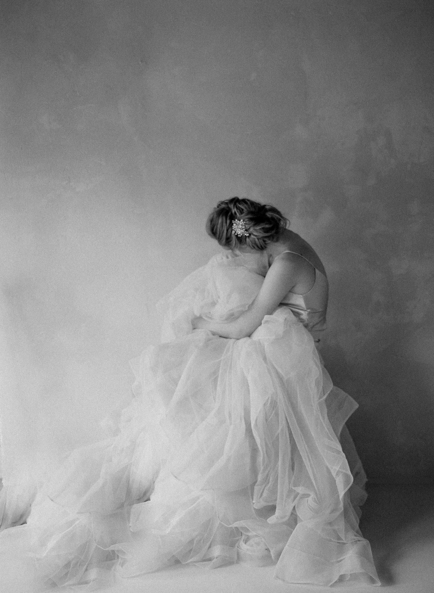 Etheral portrait of bride in tulle wedding skirt Jen Huang Los Angeles wedding photographer