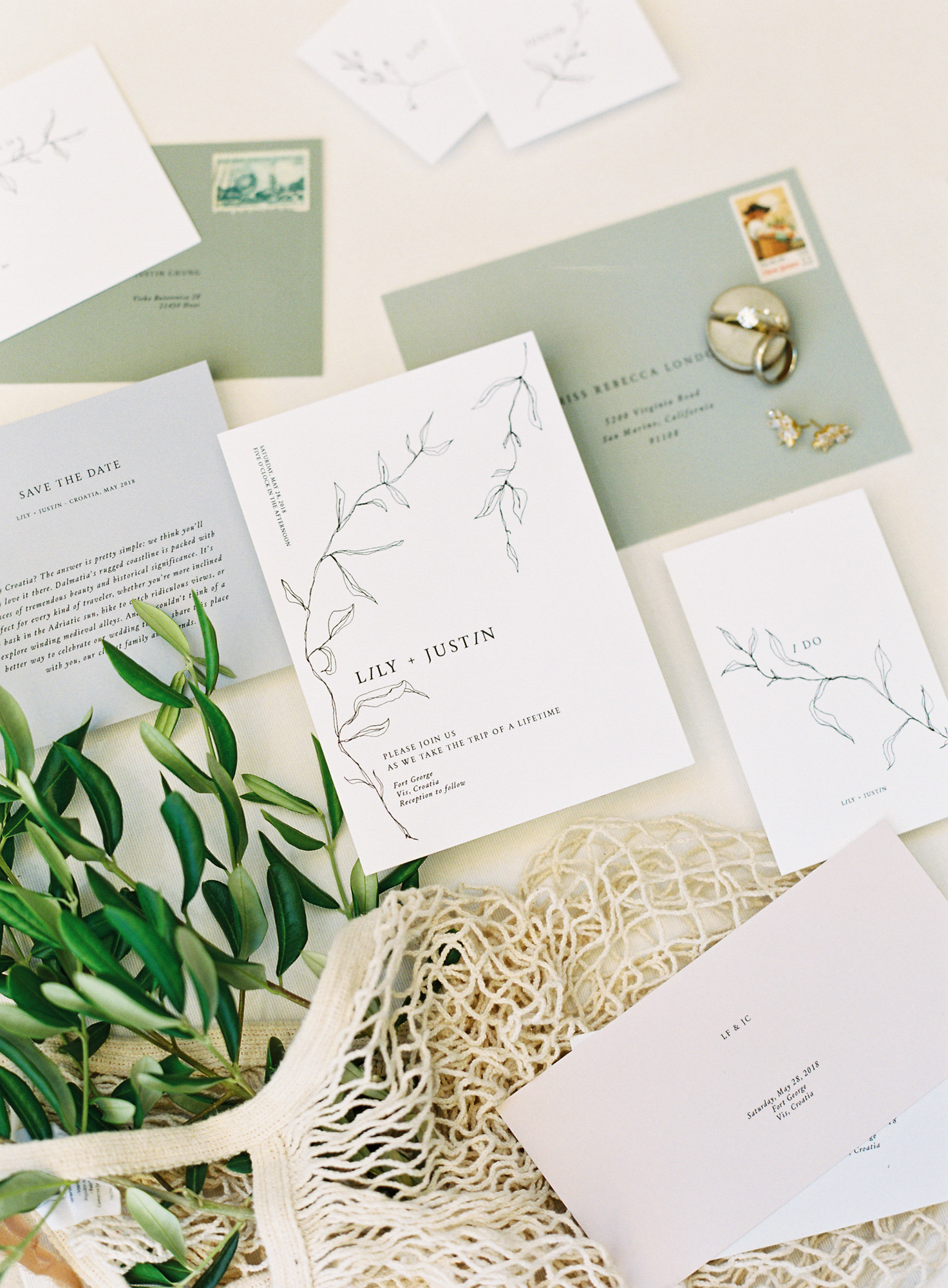 Sage  and white invitations Jen Huang Los Angeles wedding photographer