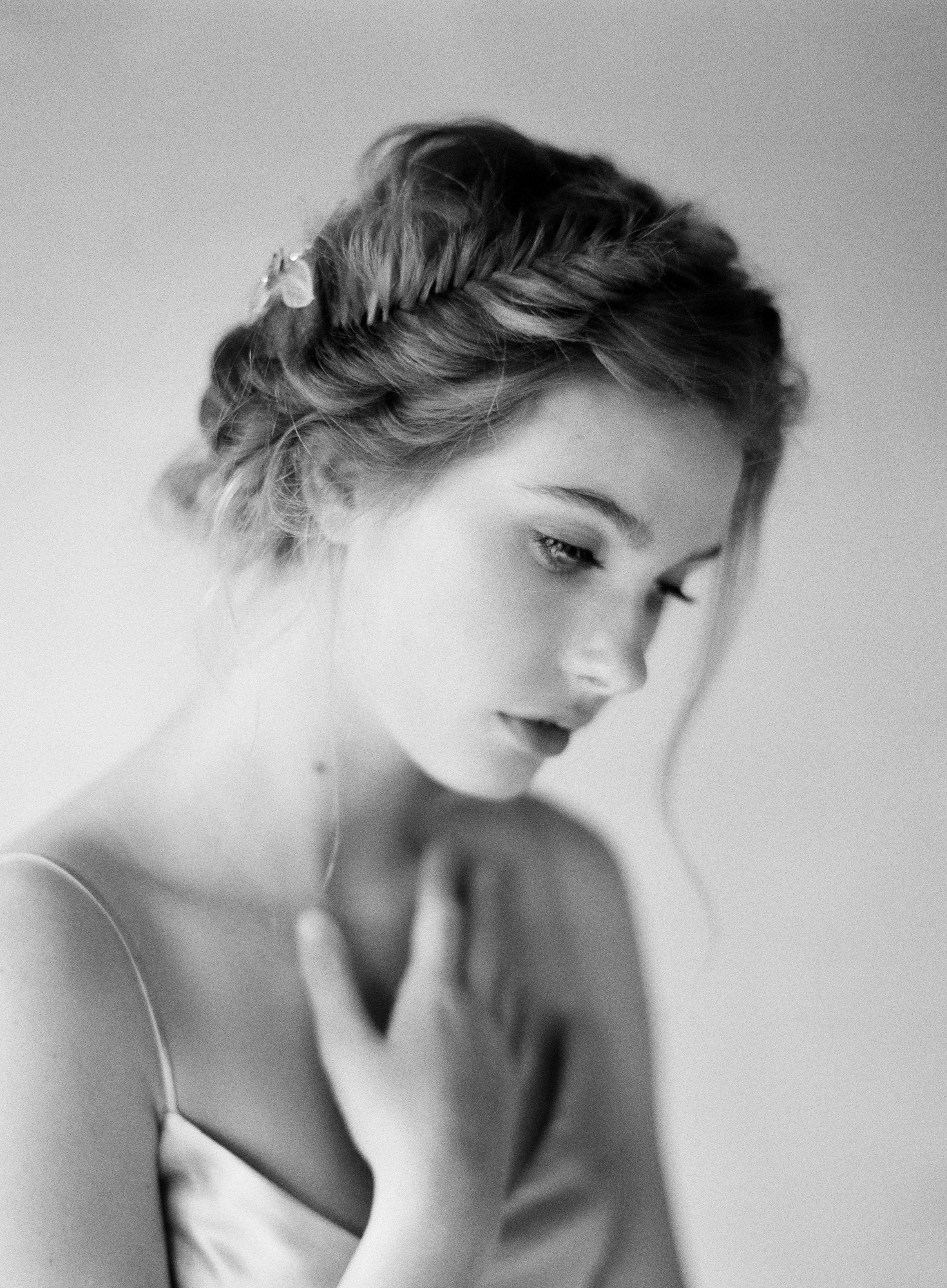 Twisted braid hairstyle film portrait Jen Huang Los Angeles wedding photographer