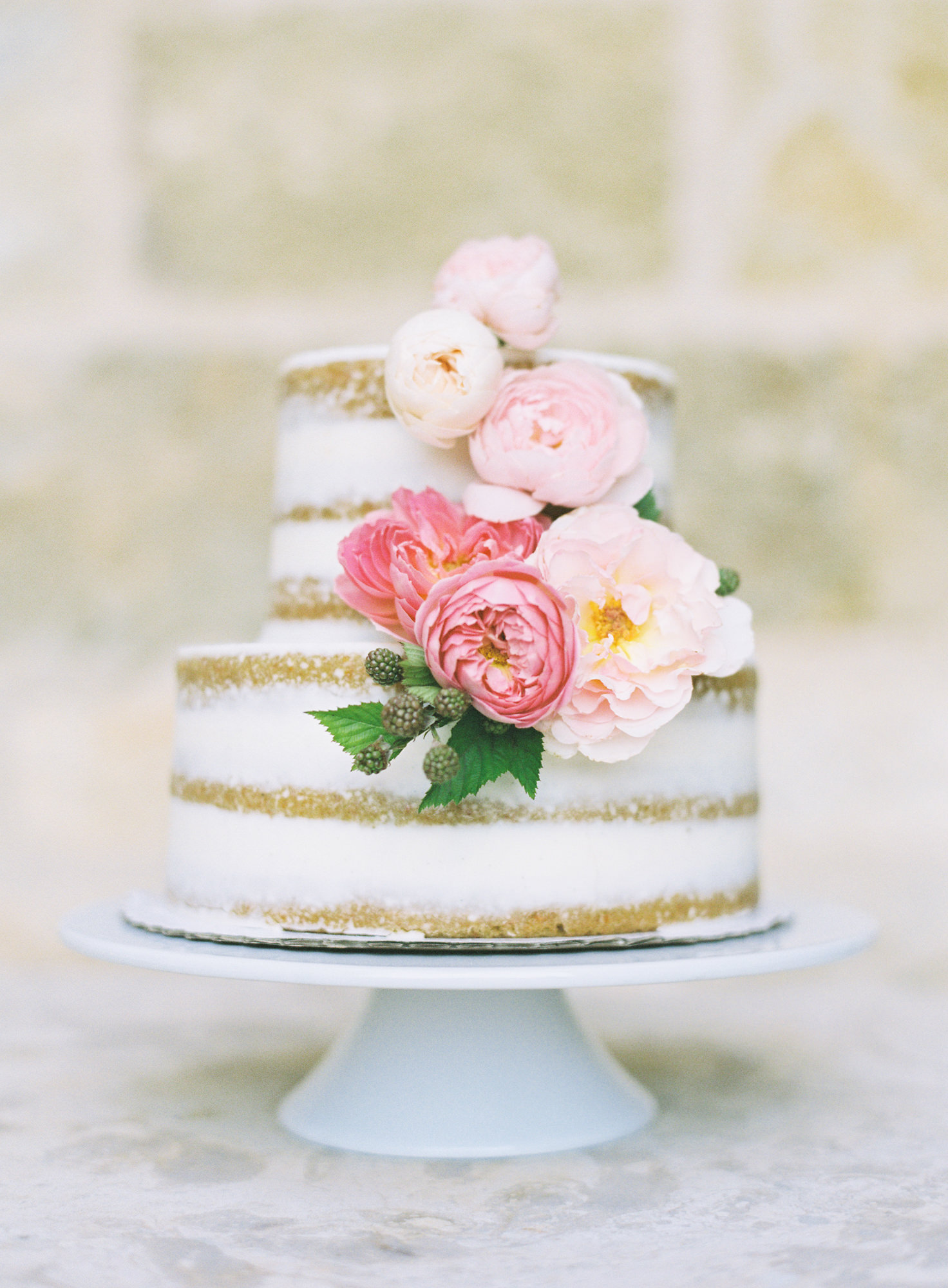 Wedding Cake with pink white roses Jen Huang Los Angeles wedding photographer