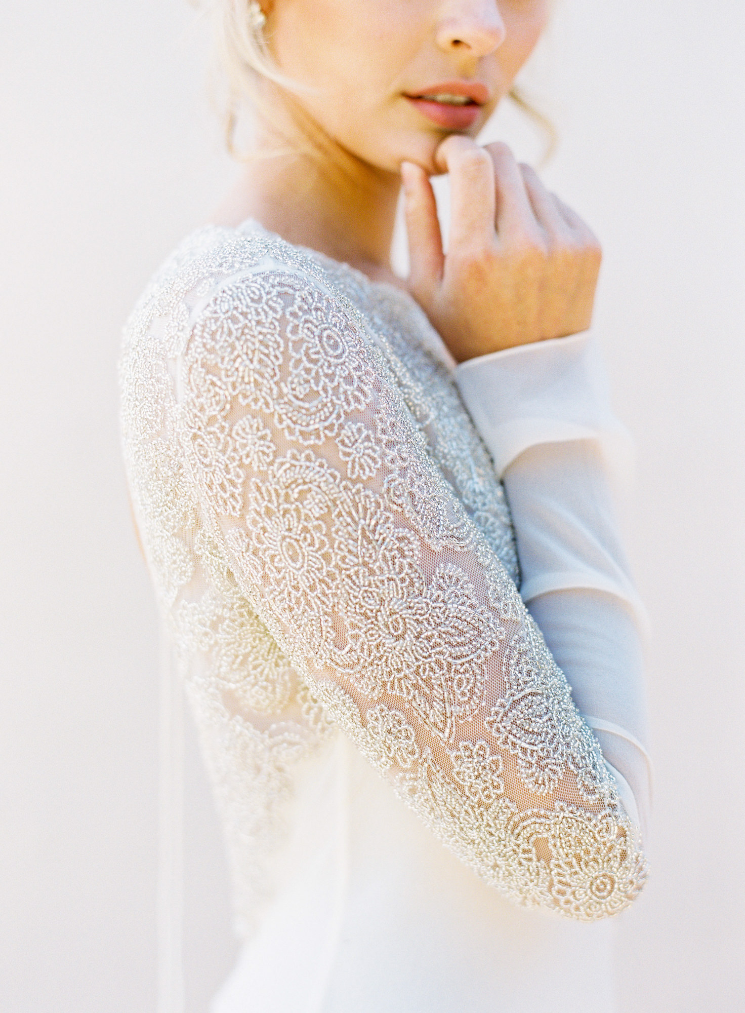 white lace long sleeves Jen Huang Los Angeles wedding photographer