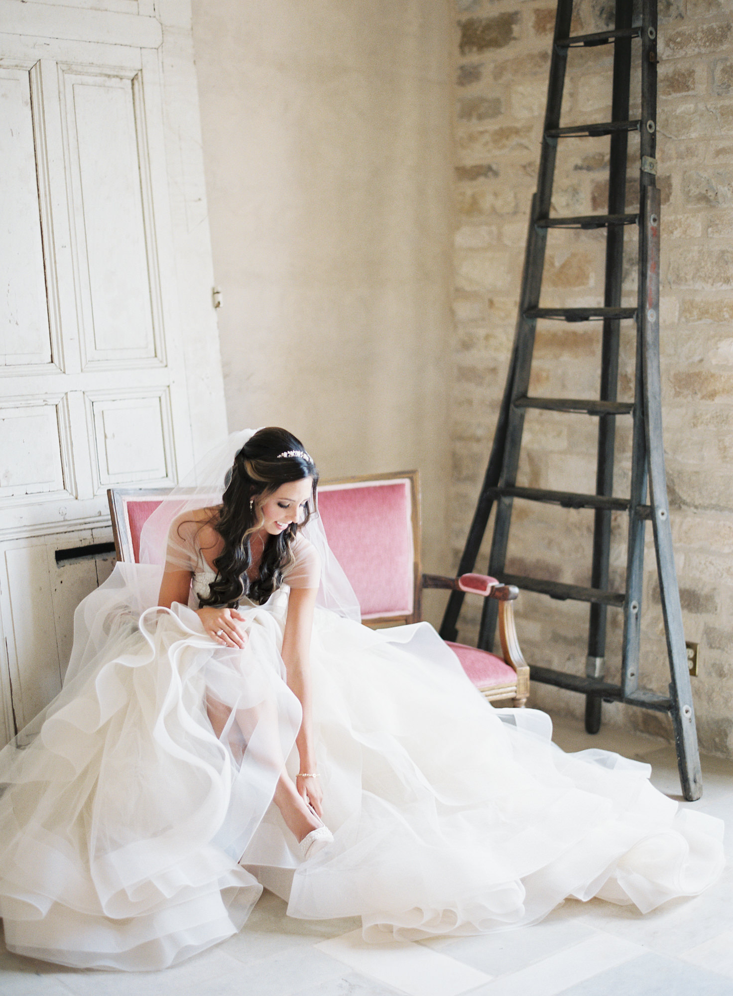 white tulle wedding dress cap sleeves Jen Huang  Los Angeles wedding photographer