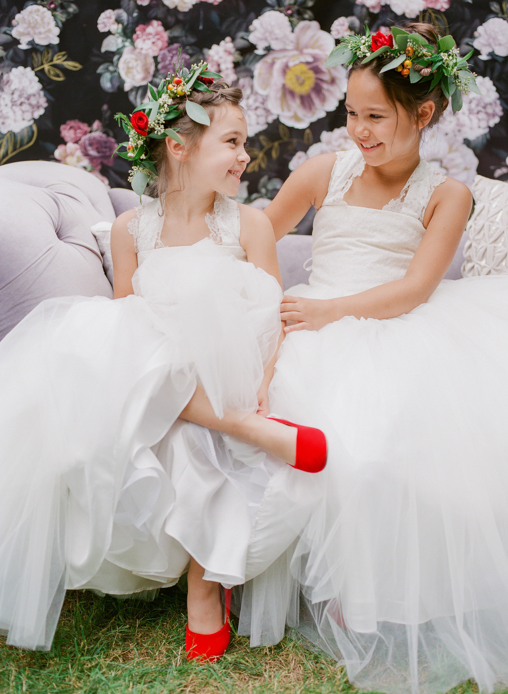 Kids in lace dress and floral crown and red shoes - photo by Corbin Gurkin