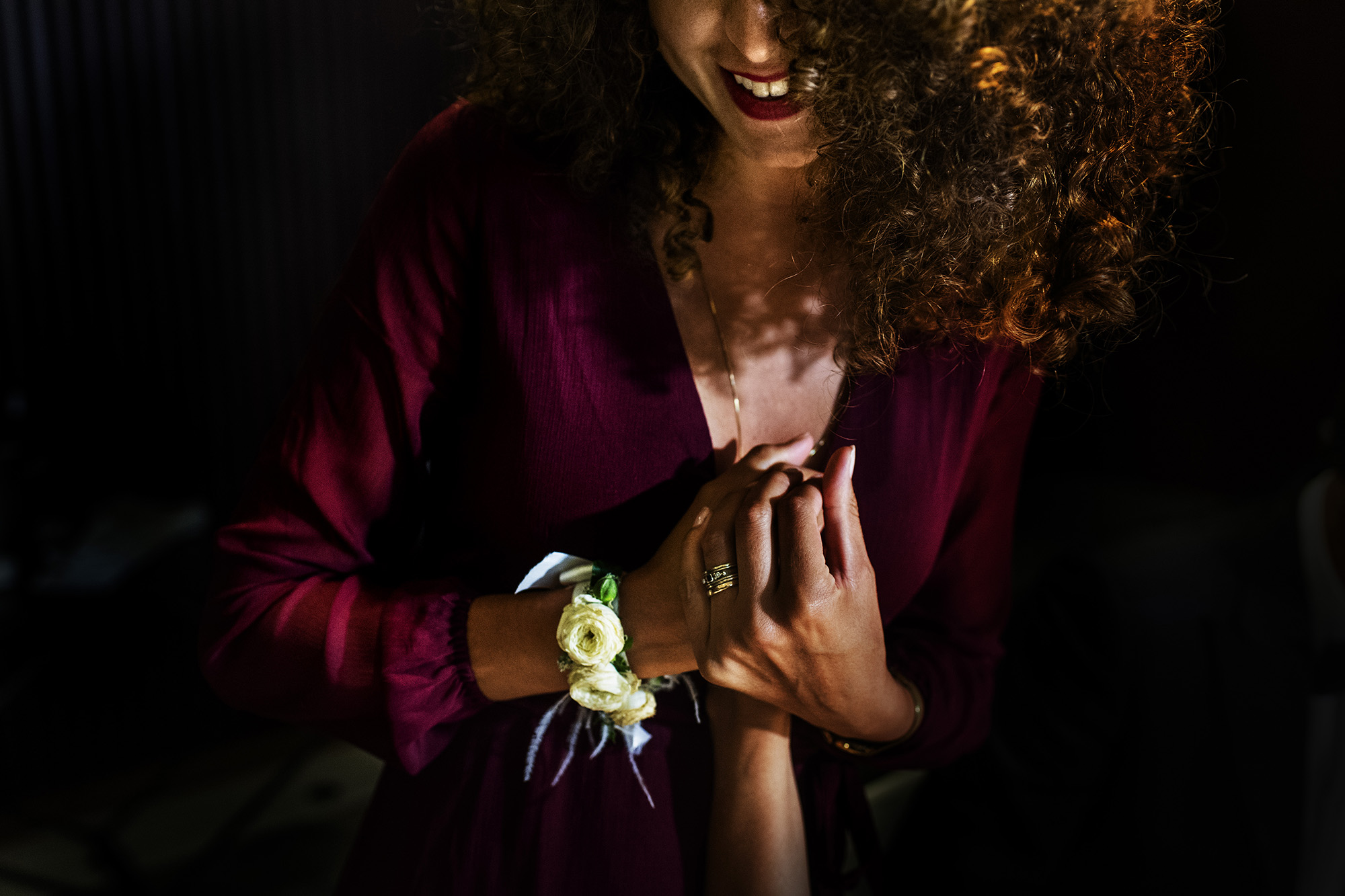 Bridesmaid with corsage - photo by Victor Lax