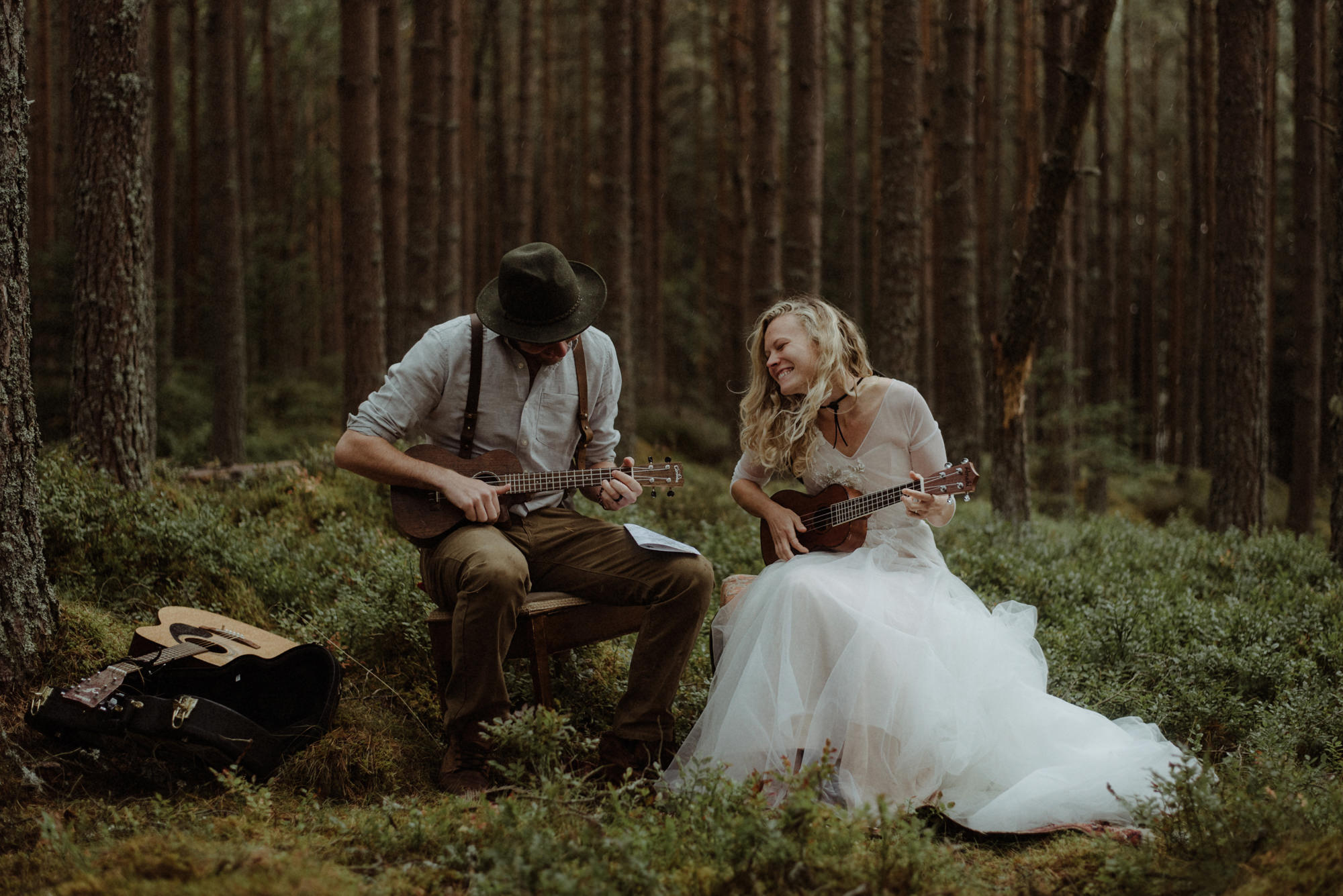 Sweet portrait of couple playing ukelelees - photo by the Kitcheners - Scotland