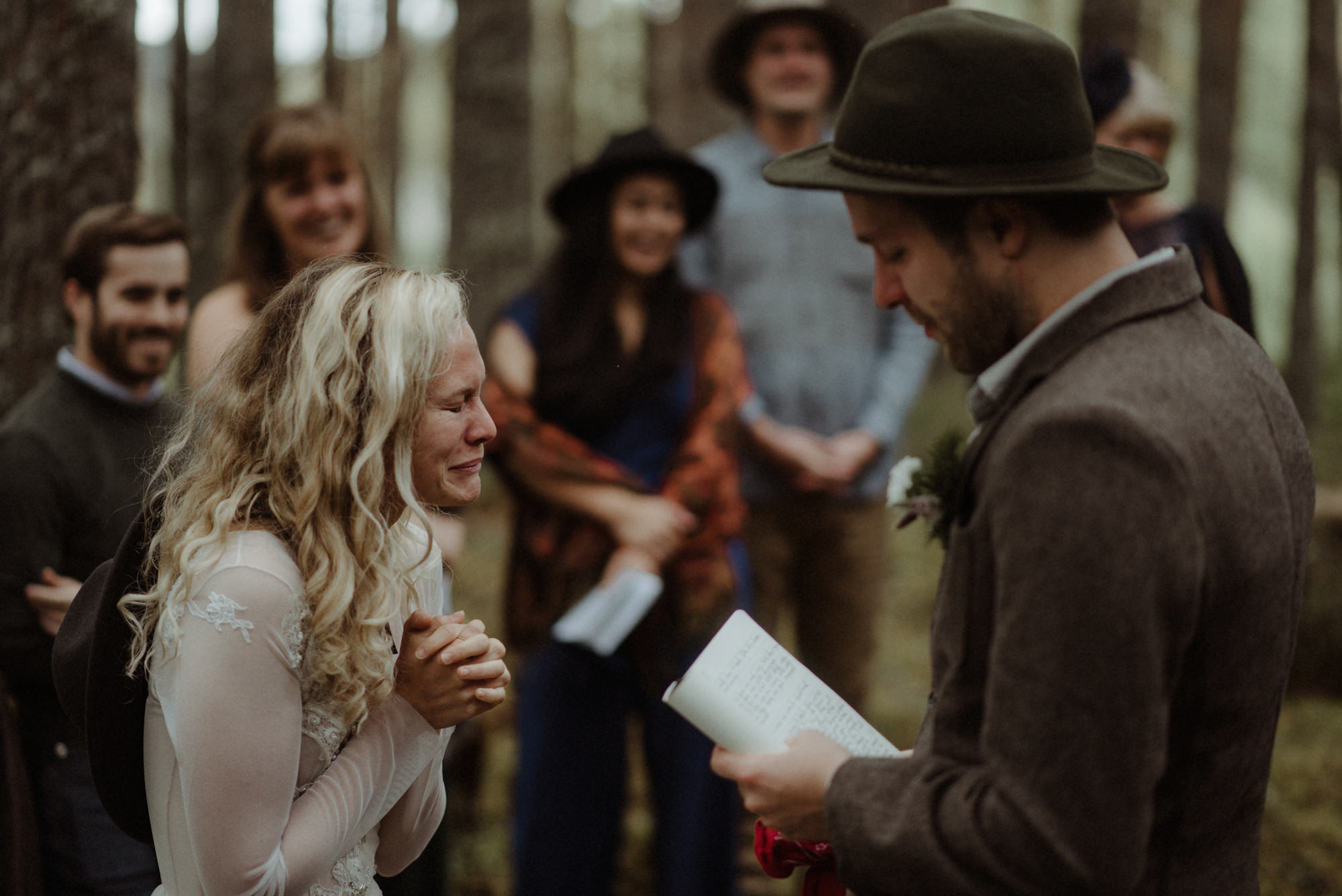 Bride crying tears of joy duringrustic ceremony - photo by the Kitcheners - Scotland
