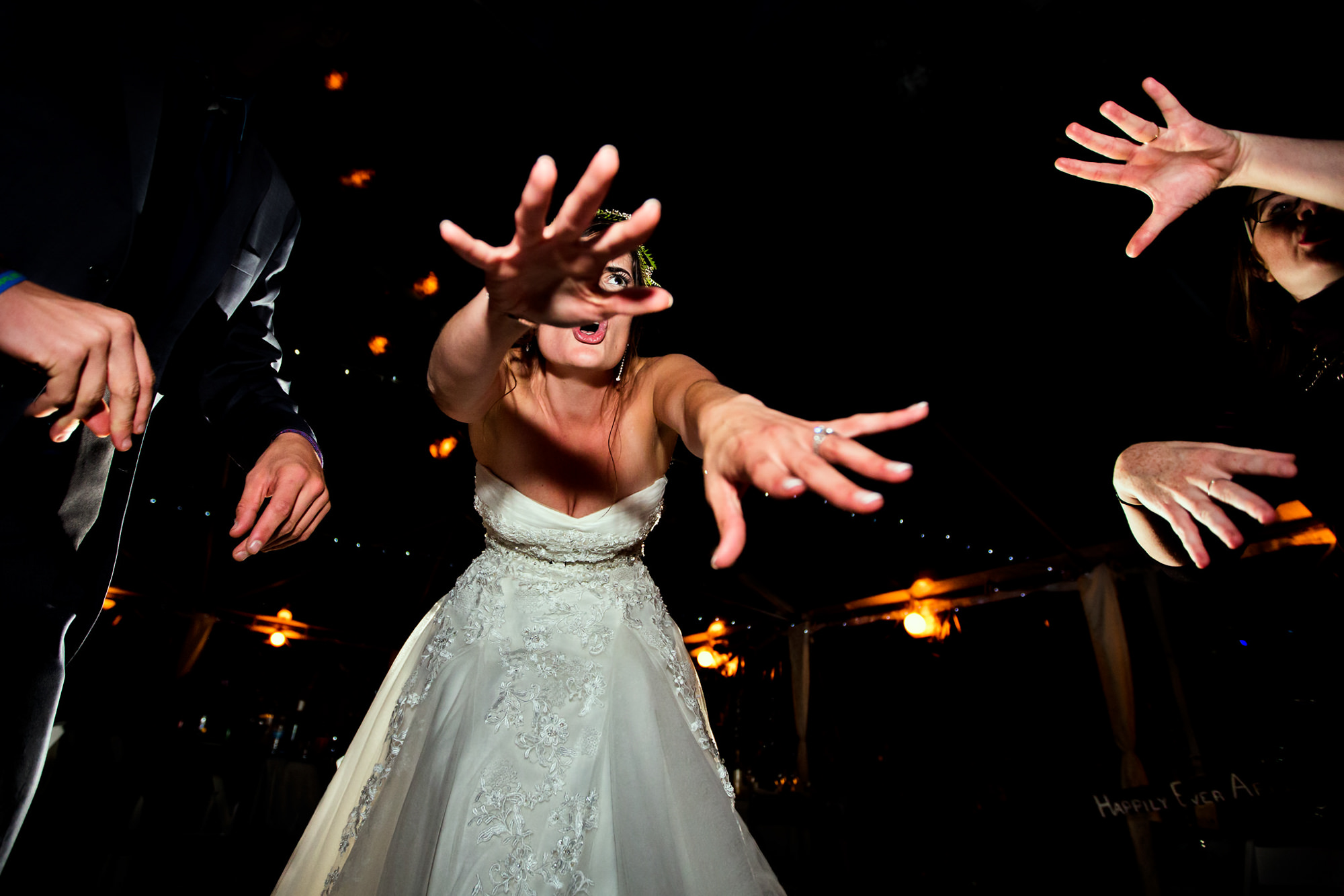 Bride doing funny dance - photo by Two Mann Studios