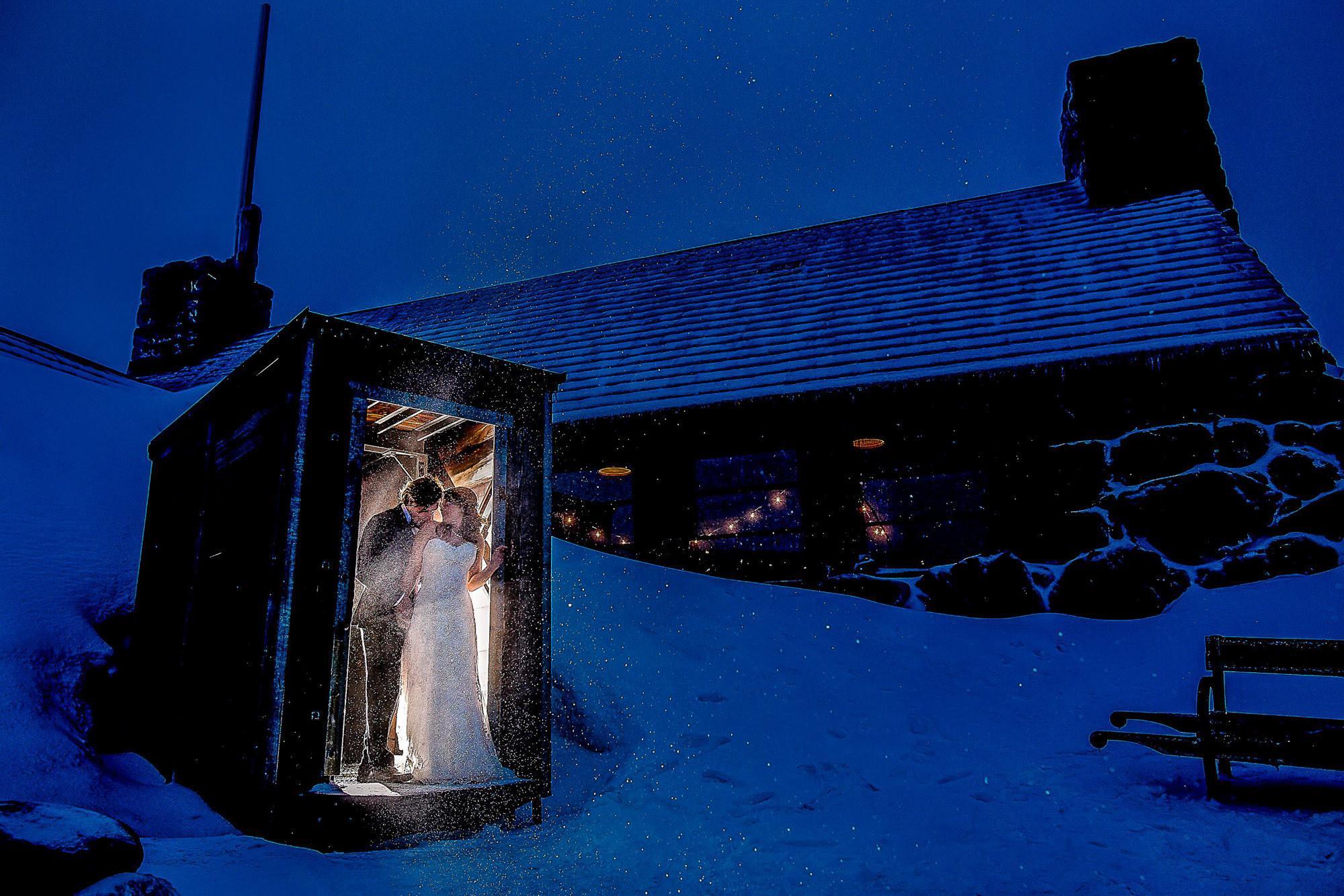 Bride and groom in Ski Patrol hut photo by JOS Studios : Jos and Tree Woodsmith