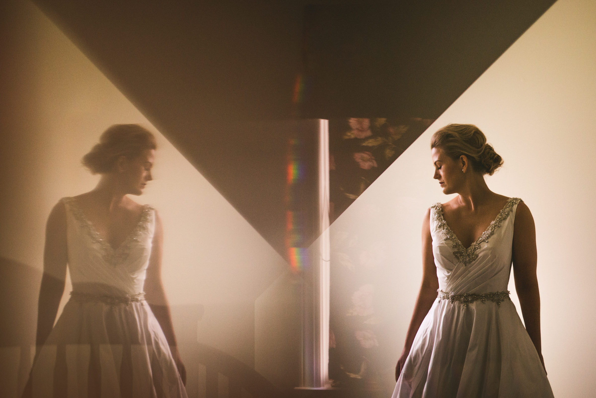 Prism reflection of bride by Sam Hurd - DC