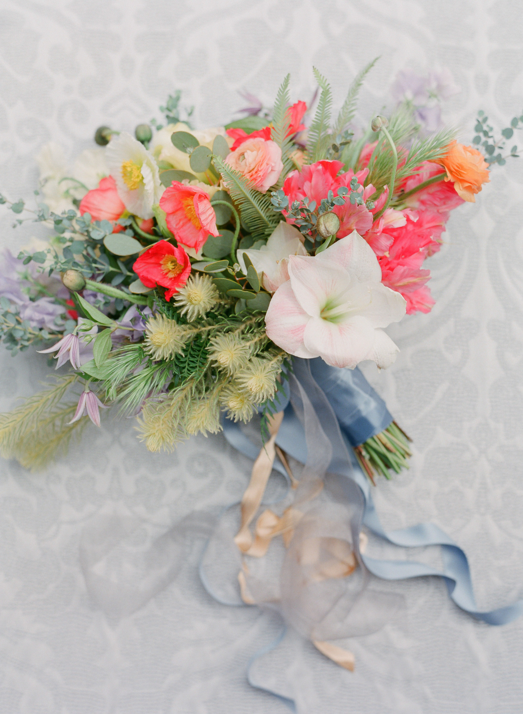 Summer bouquet with amaryllis and poppies - photo by Corbin Gurkin