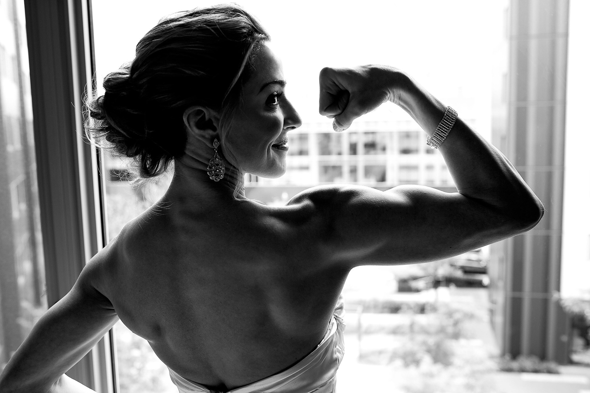 Buff bride shows muscle photo by JOS Studios : Jos and Tree Woodsmith