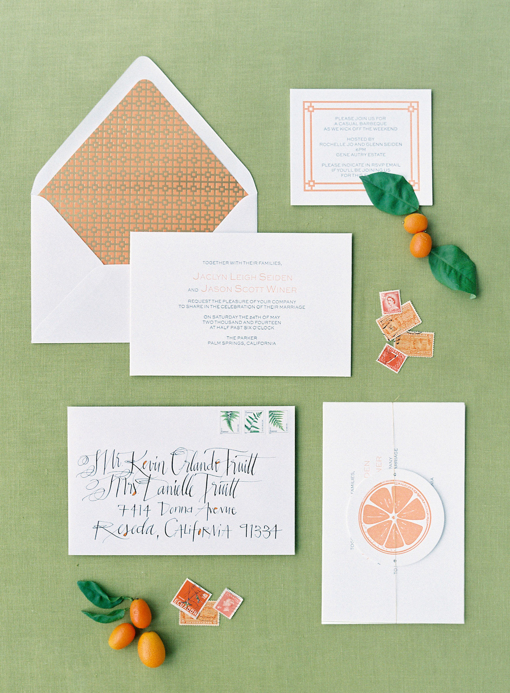Citrus themed invitations with geometric design lining - photo by Corbin Gurkin