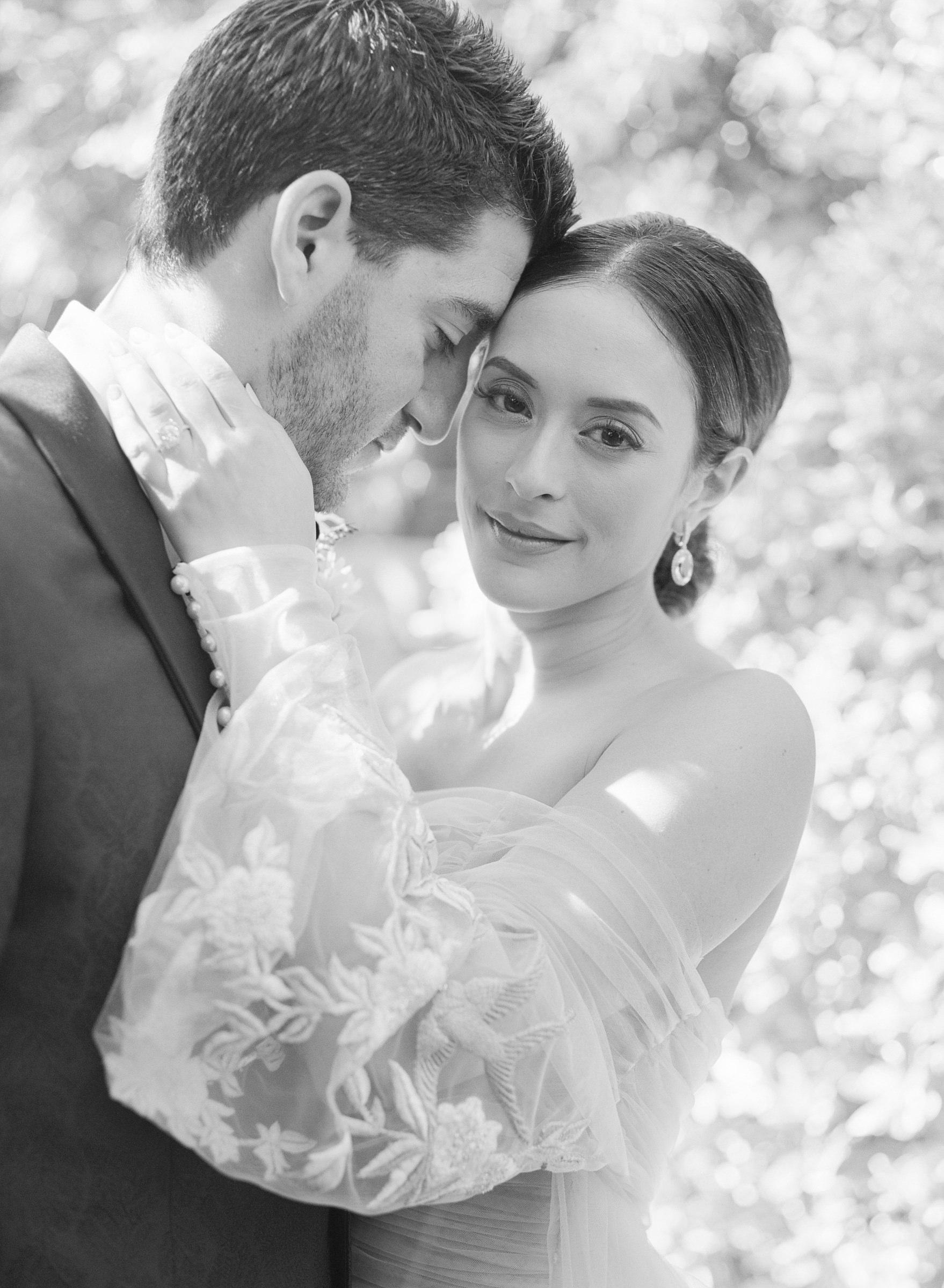 Romantic black and white portrait of bride and groom by Corbin Gurkin