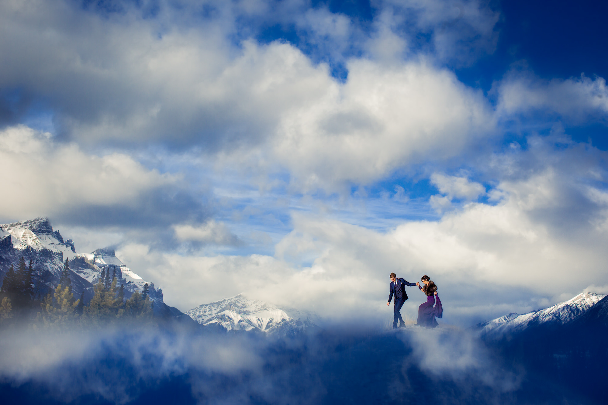 Elopement bride in purple dress in Canadian Rockies Banff - photo by Two Mann Studios