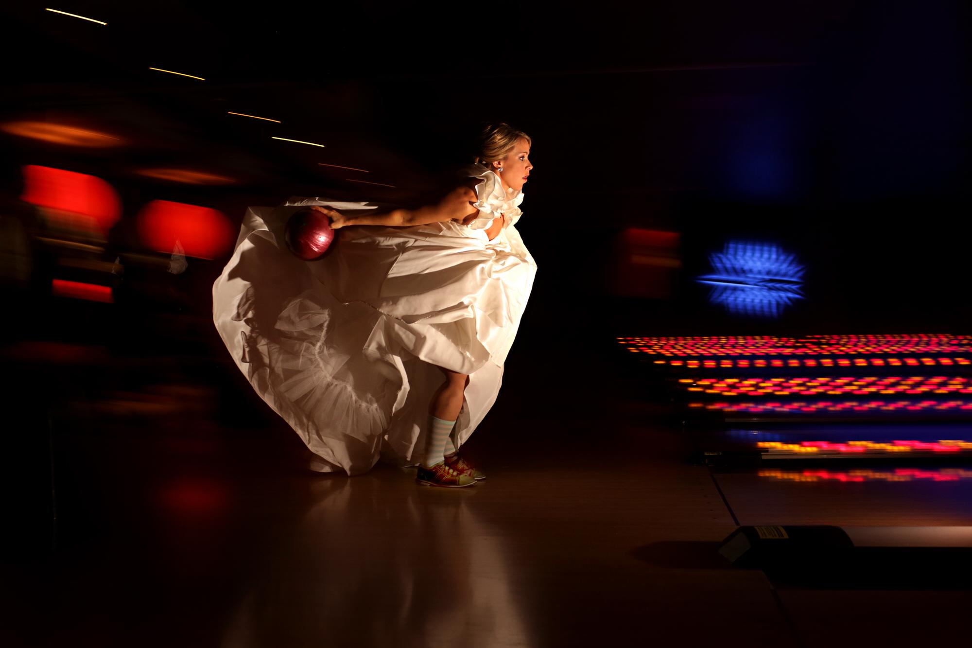 Bride bowling photo by Tyler Wirken - Kansas City