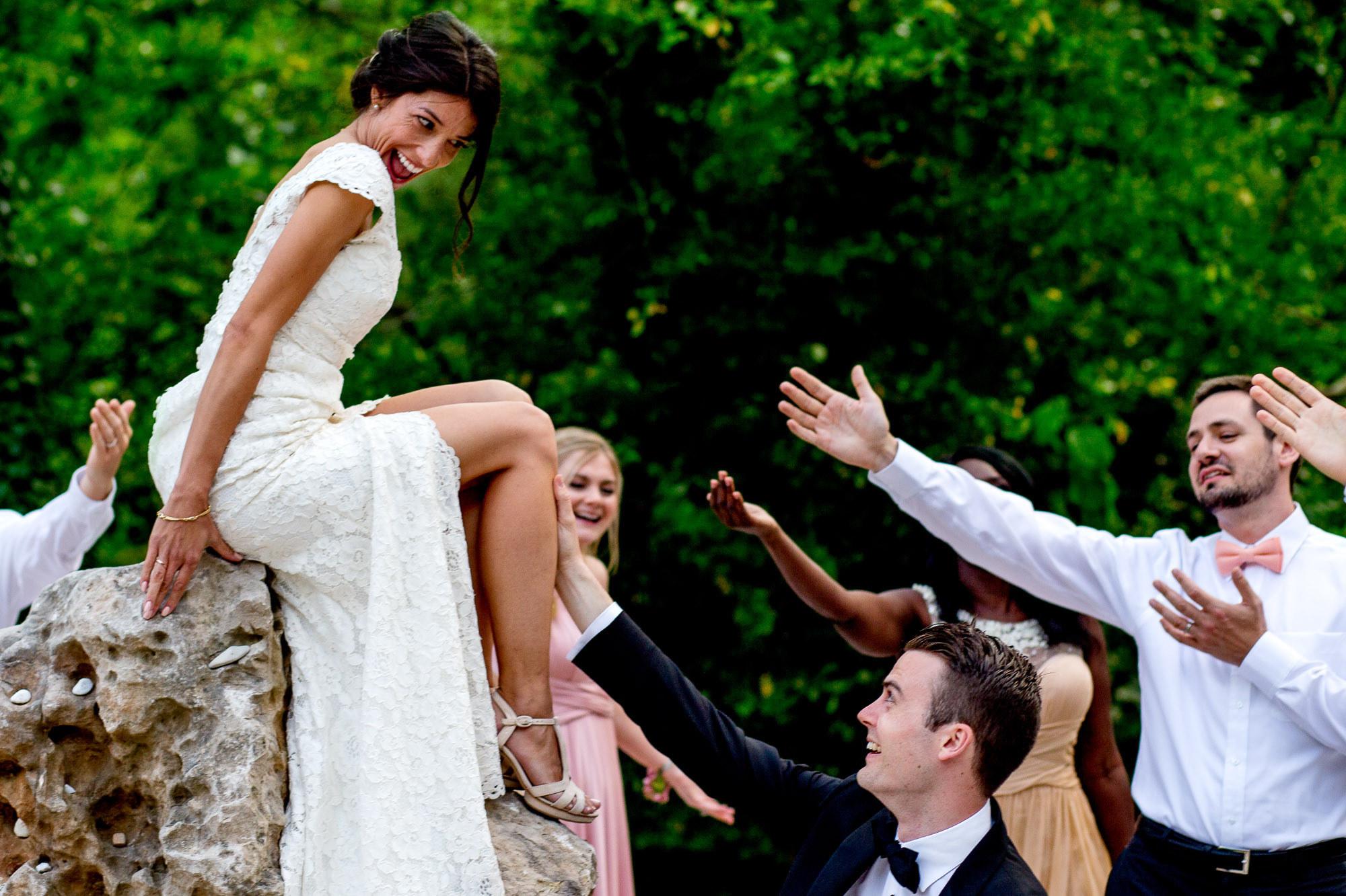Bride flirting with groom - Photo by Jos Studios - Portland