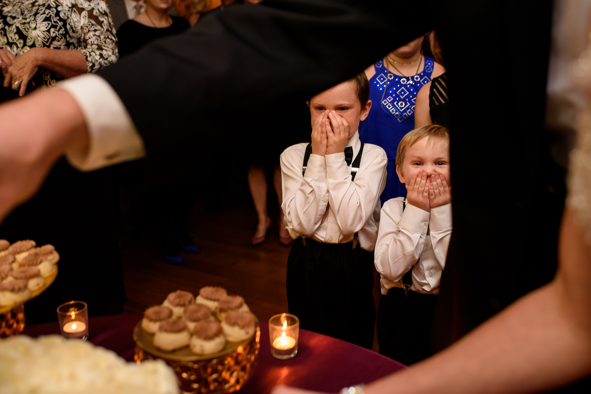 Kids anticipating wedding cake - Photo by Tyler Wirken - Kansas City
