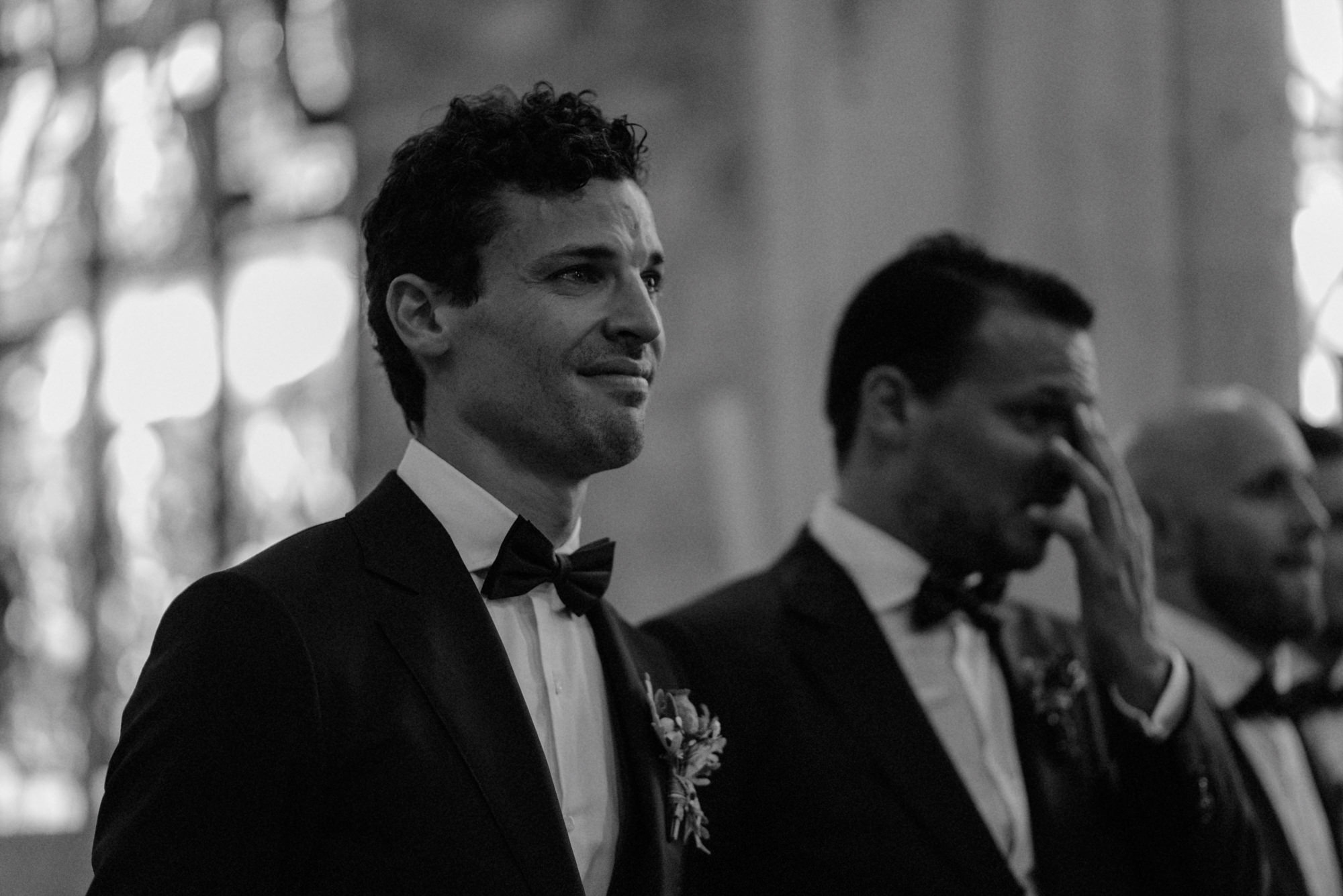 Groom chokes up watching bride come down the aisle - photo by the Kitcheners - Scotland