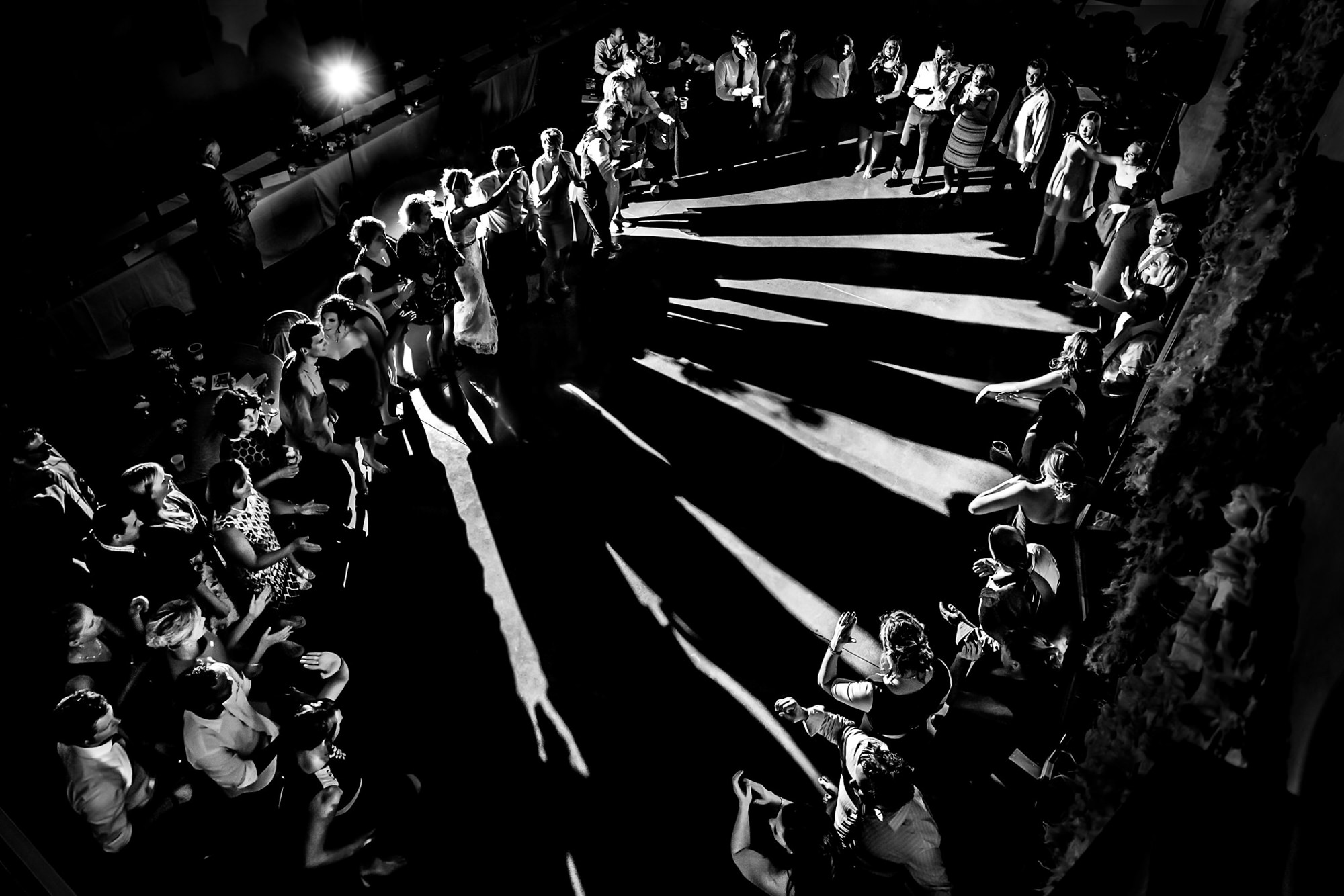 Guests form circle for hora dance - photo by Two Mann Studios