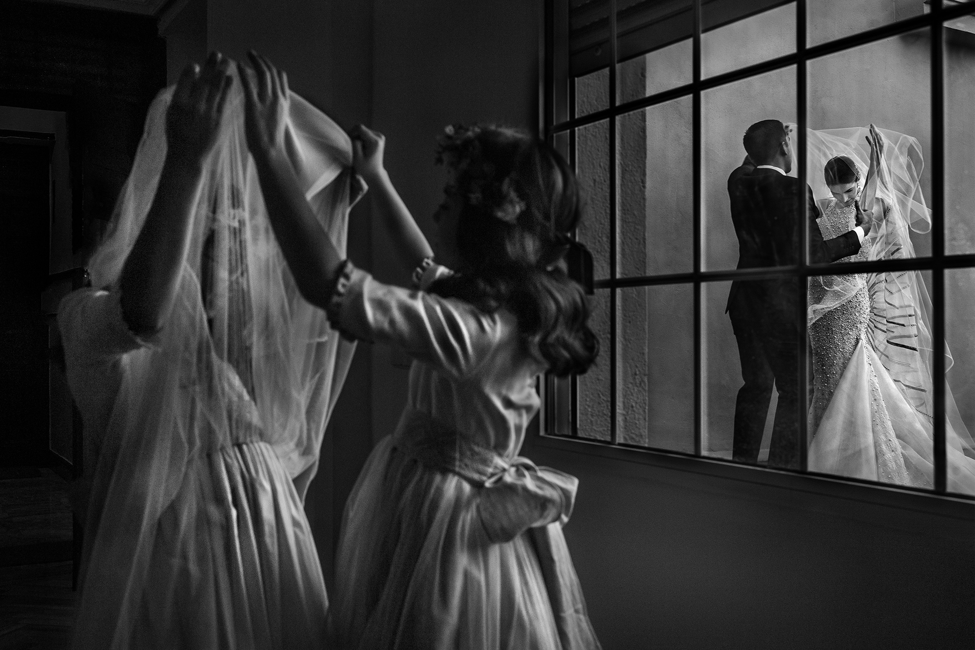 Juxtaposition black and white bridal veil - photo by Victor Lax
