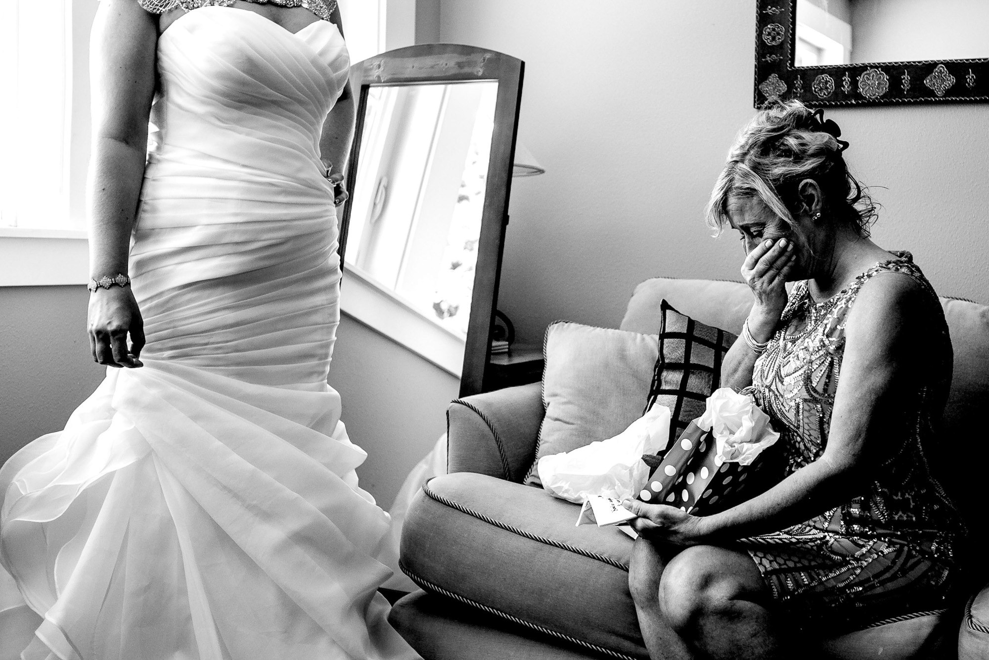 Mom cries seeing daughter in her dress - photo by Jos Studios - Portland
