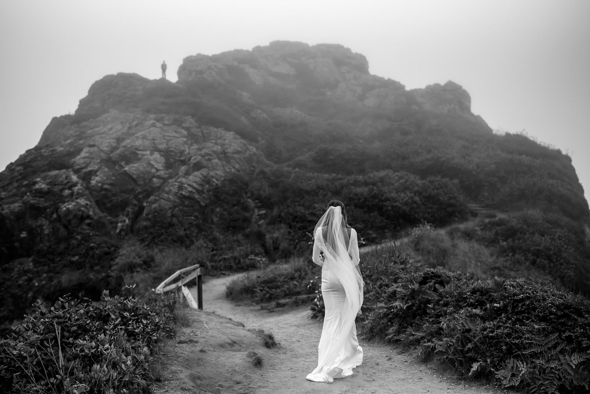 Bride walks up mountain to meet groom - photo by Tyler Wirken - Kansas City