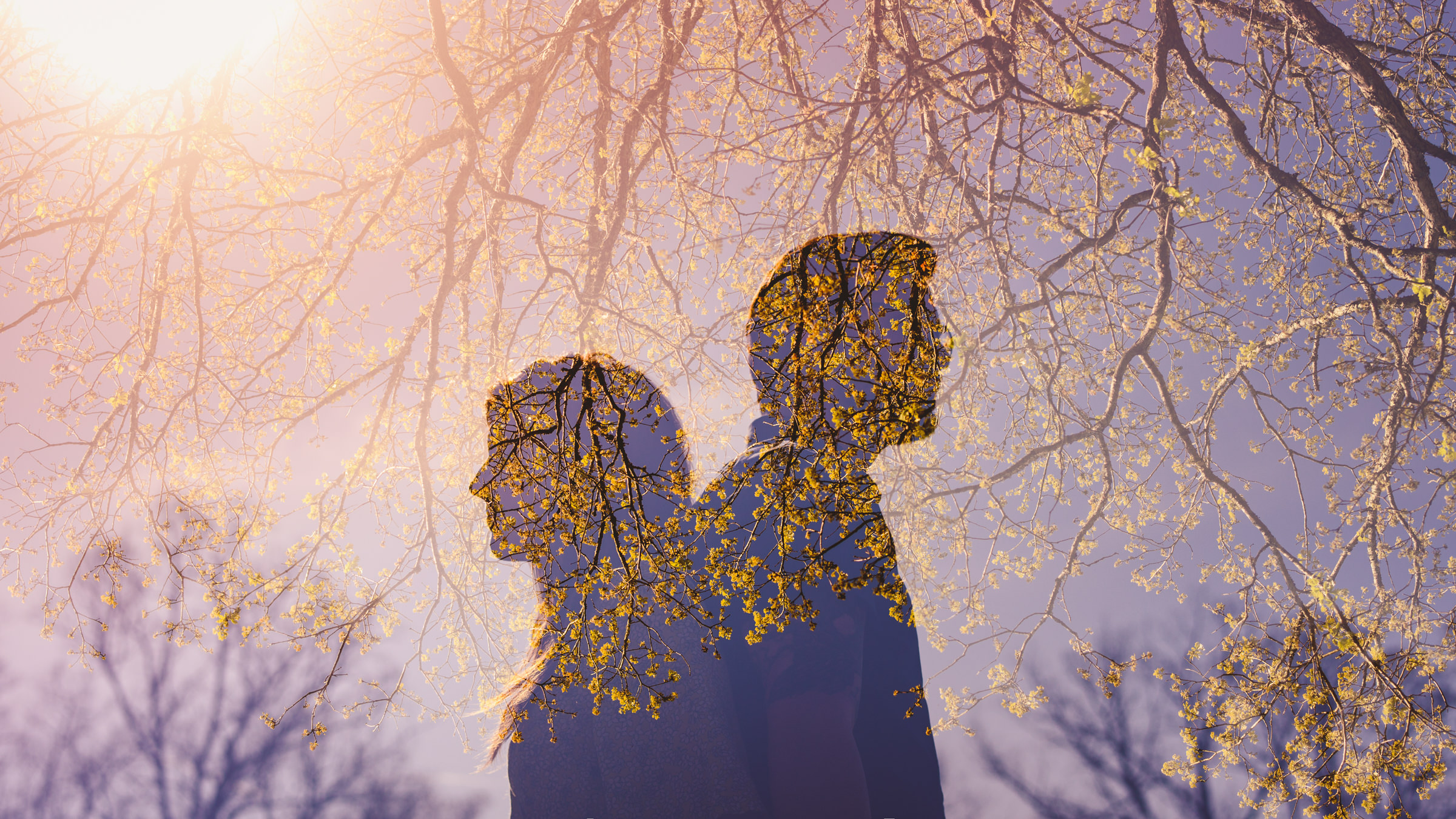 Multiple exposure of couple under cherry trees - photo by Sam Hurd - DC