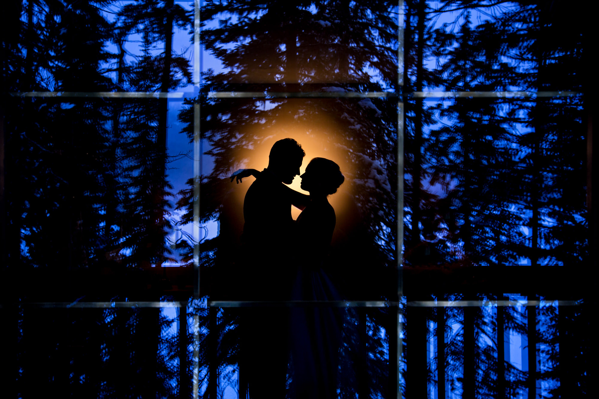 Silhouette of couple against evening trees - photo by Two Mann Studios