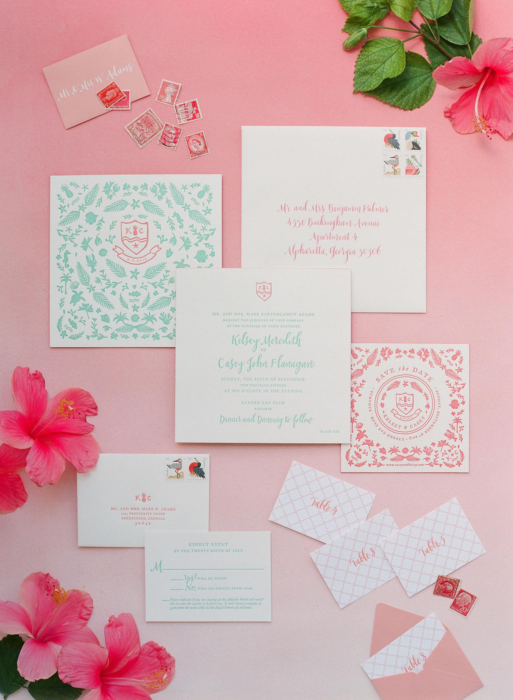 Aqua and pink stamp design invitations by Corbin Gurkin