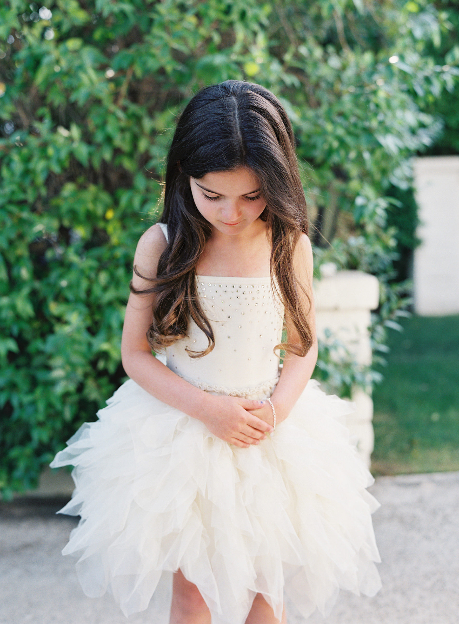 Sweet little girl in ballet gown dress by Corbin Gurkin
