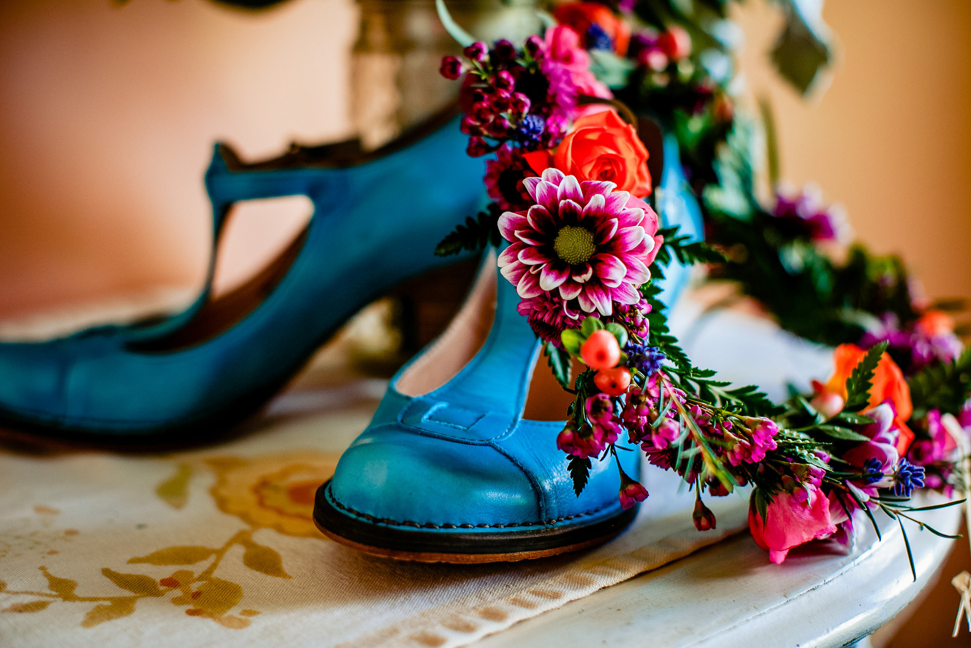 Teal heals and floral crown by JOS Studios
