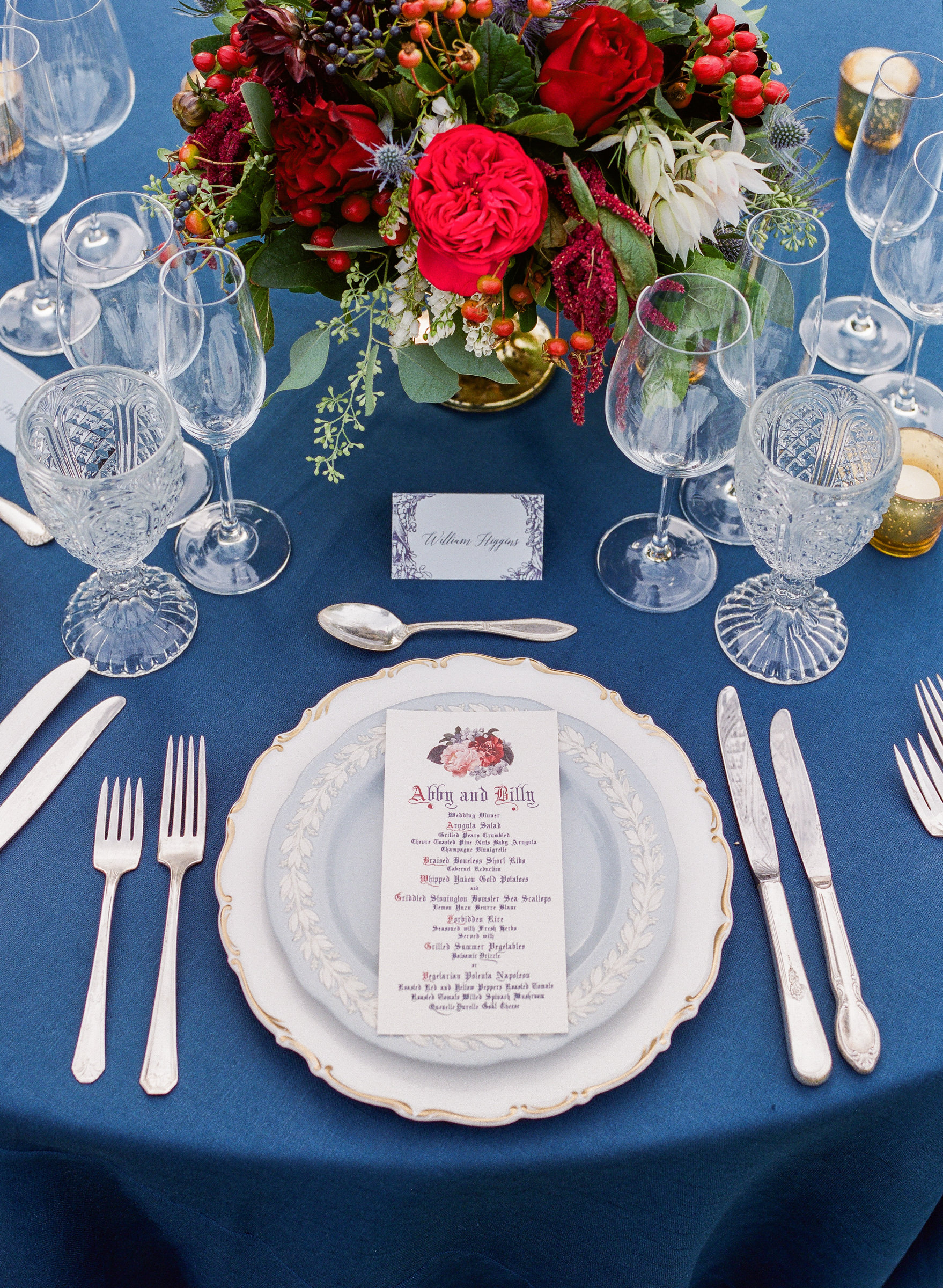 Winter wedding place setting with crystal and wedgewood - photo by Corbin Gurkin