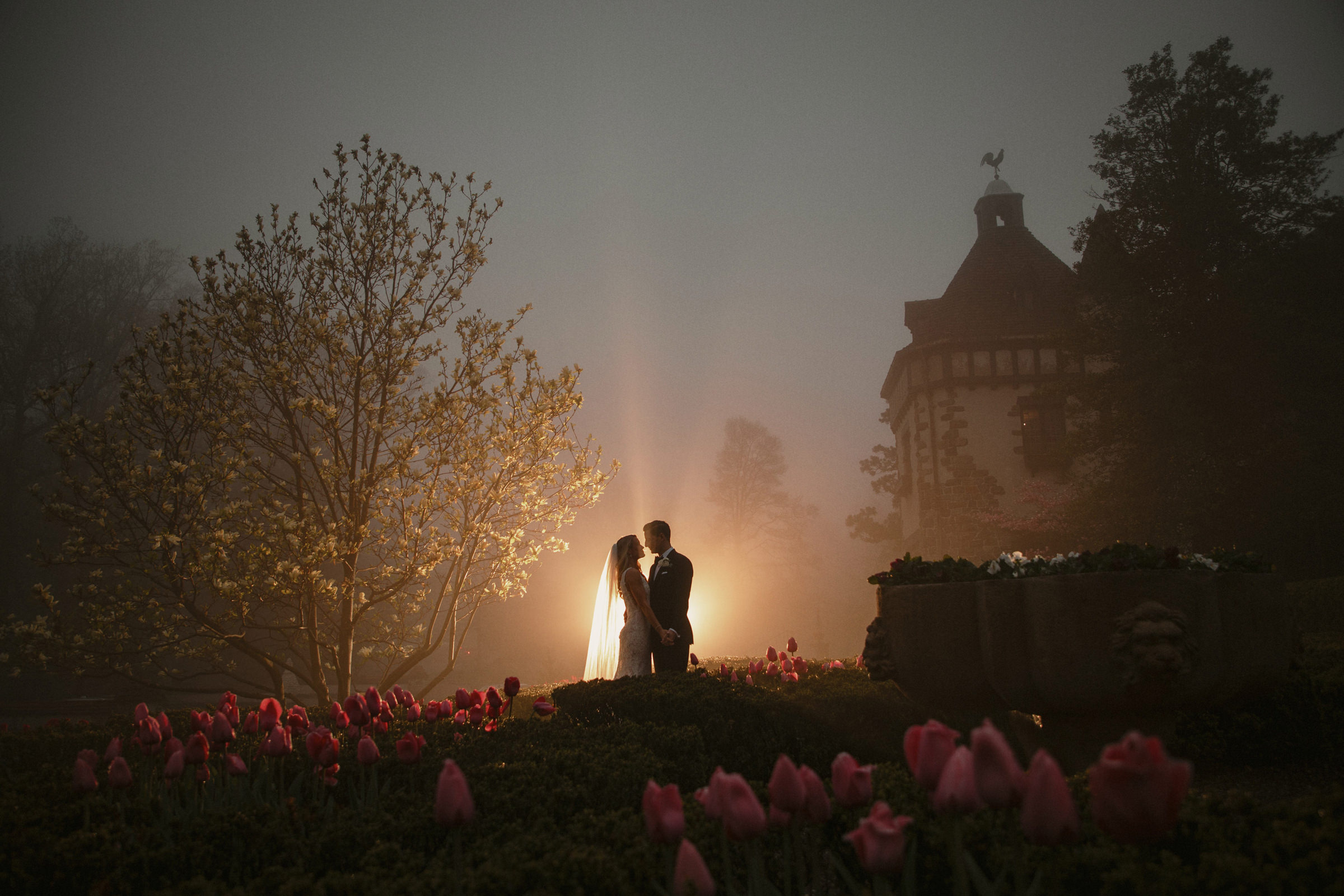 Bride and groom against bed of tulips - Photo by Susan Stripling Photography