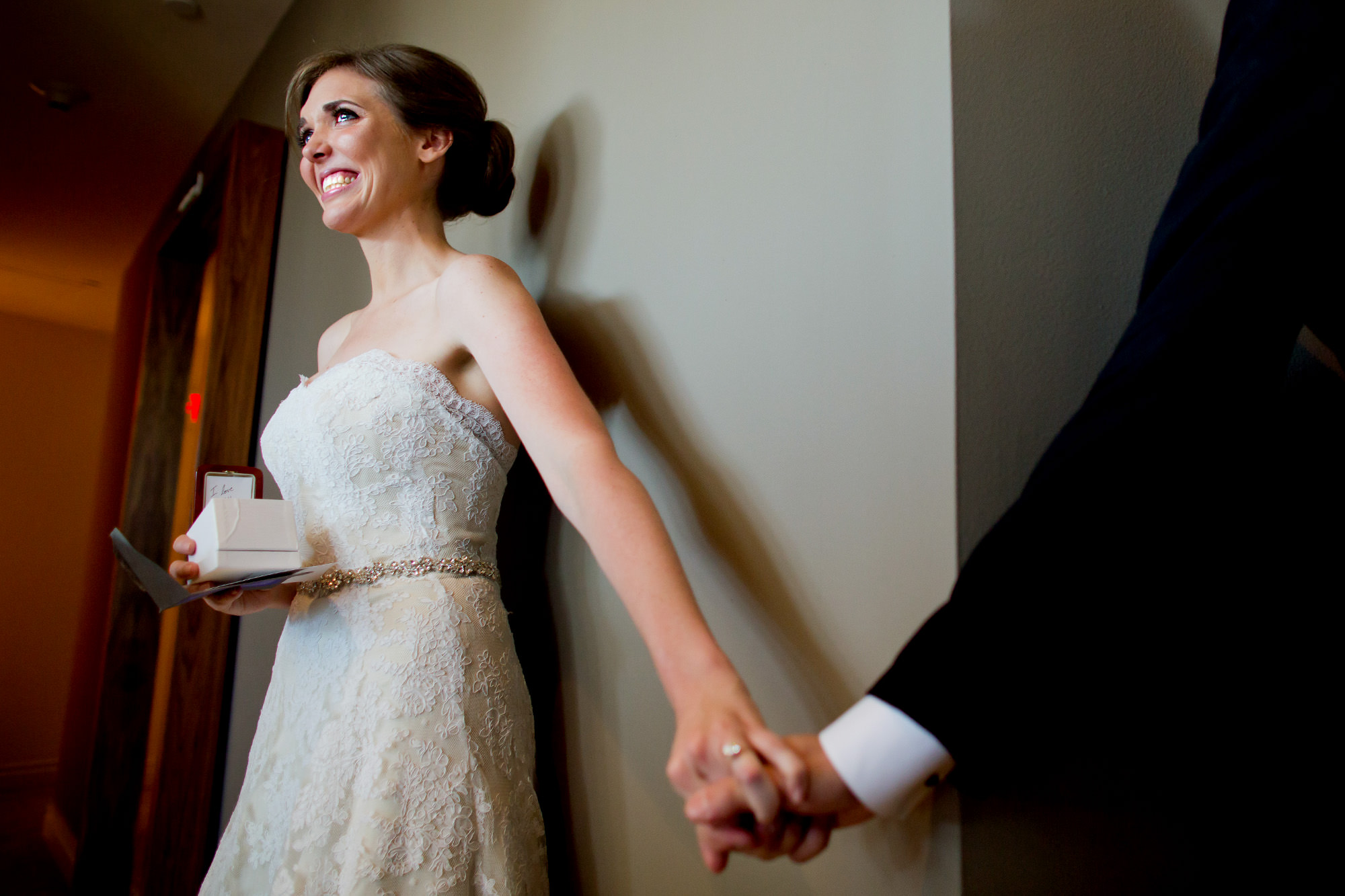 Emotional bride at first look - photo by Ken Pak