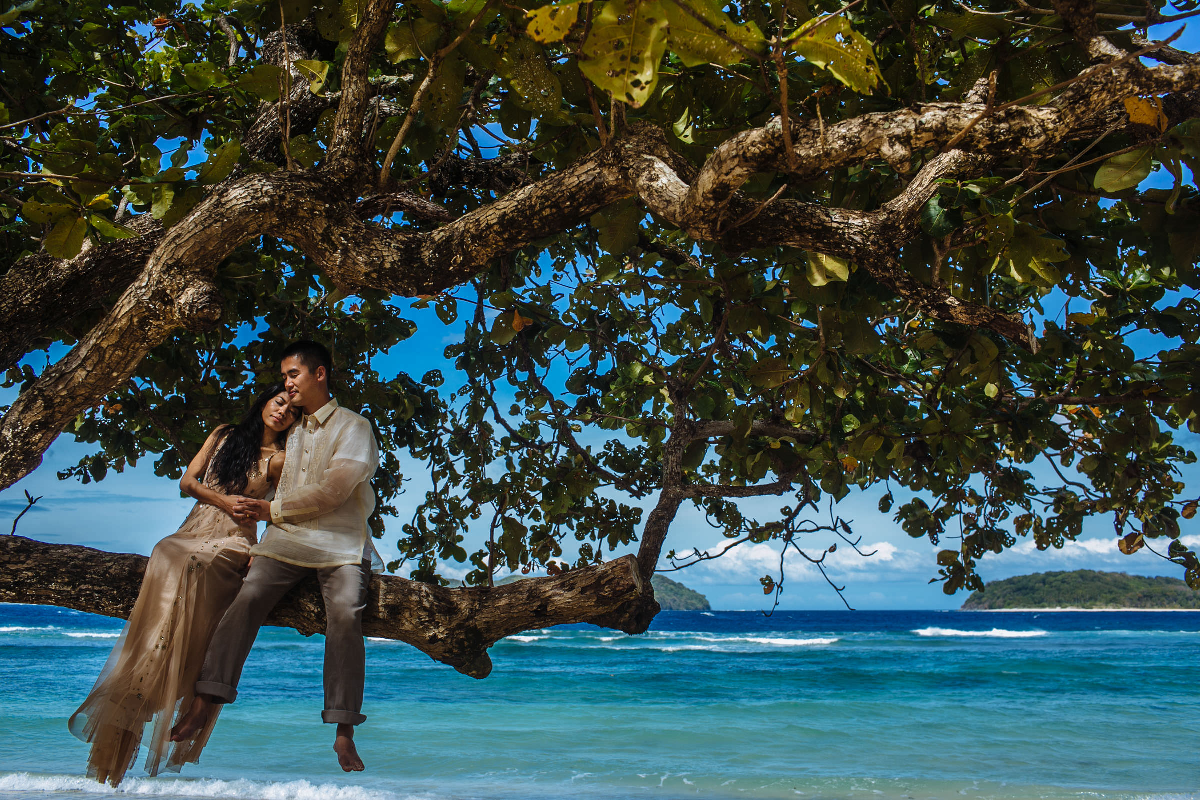 Couple seated in tree at waters edge - Photo by Wainwright Weddings
