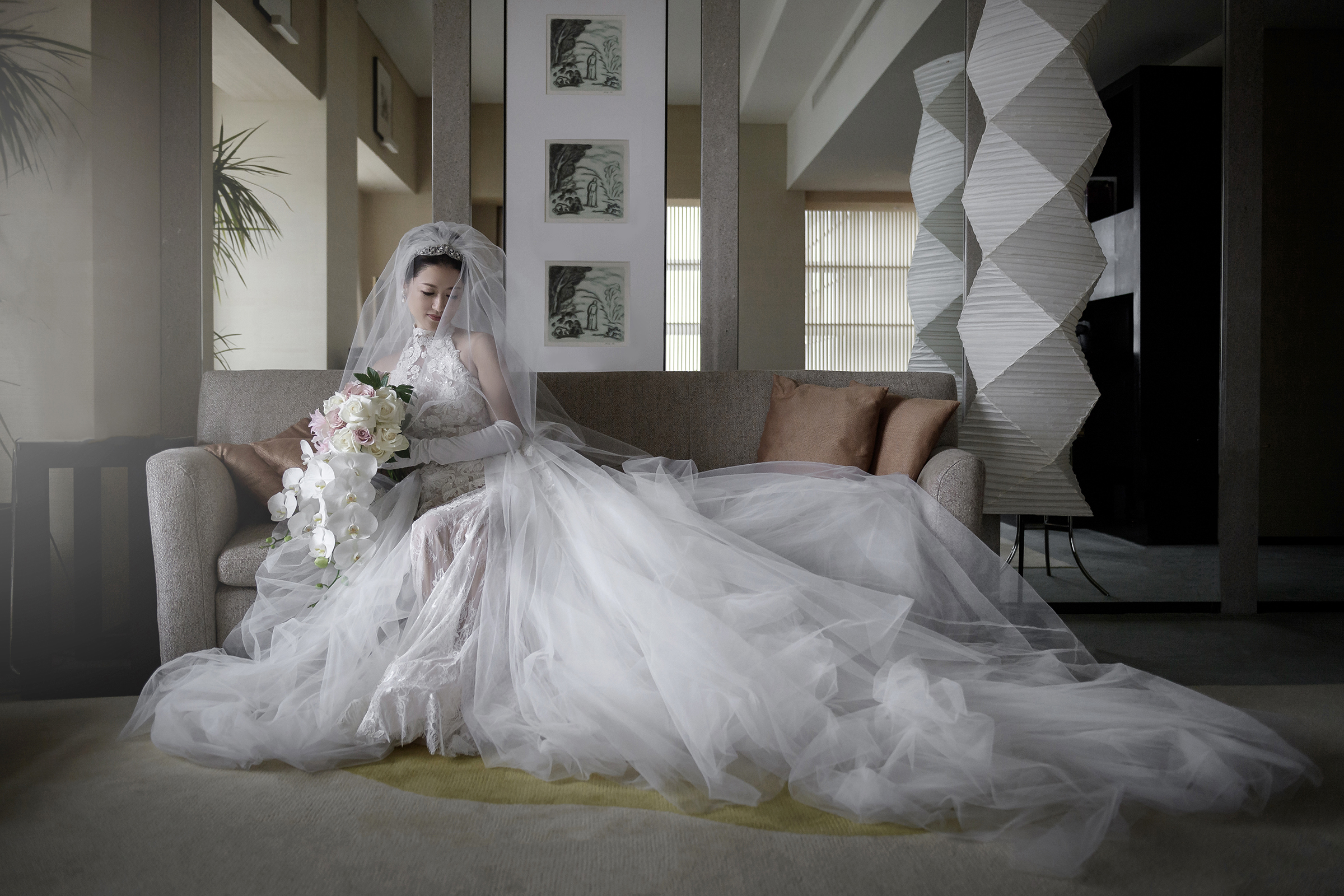 Creative interior portrait of seated bride - photo by 37 Frames