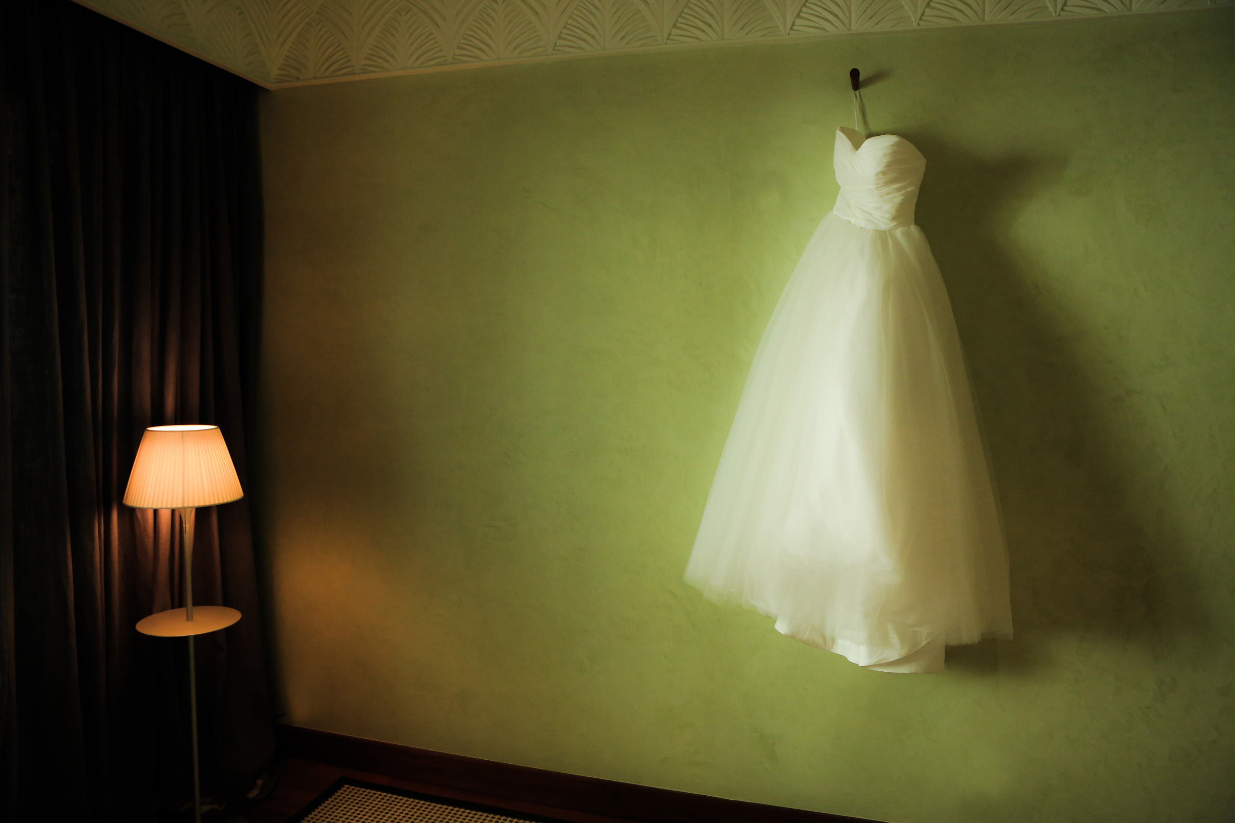 Moody portrait of a wedding gown, by Franck Boutonnet
