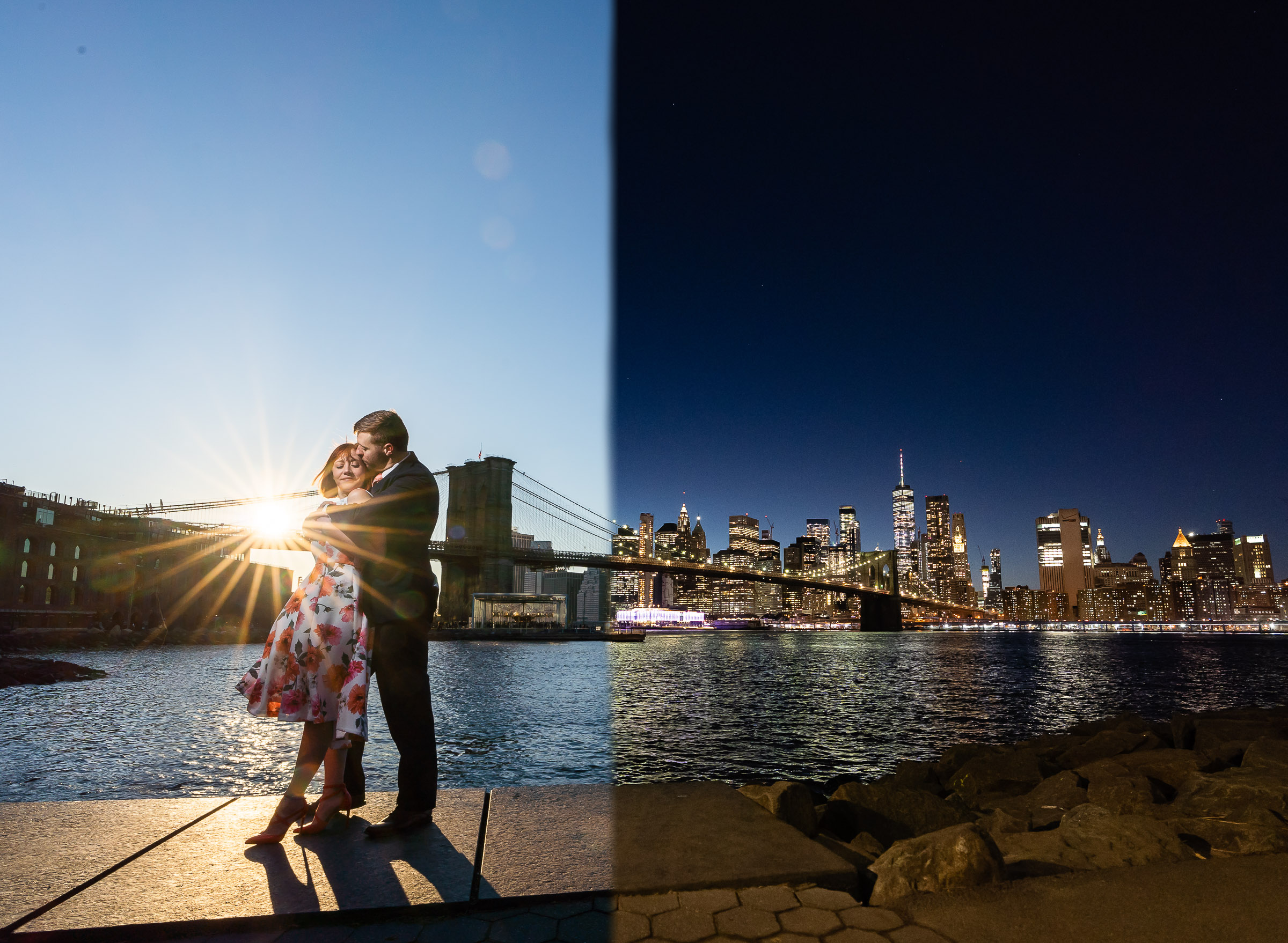 Day and night engagement photo at Brooklyn Bridge - photo by The Brenizers