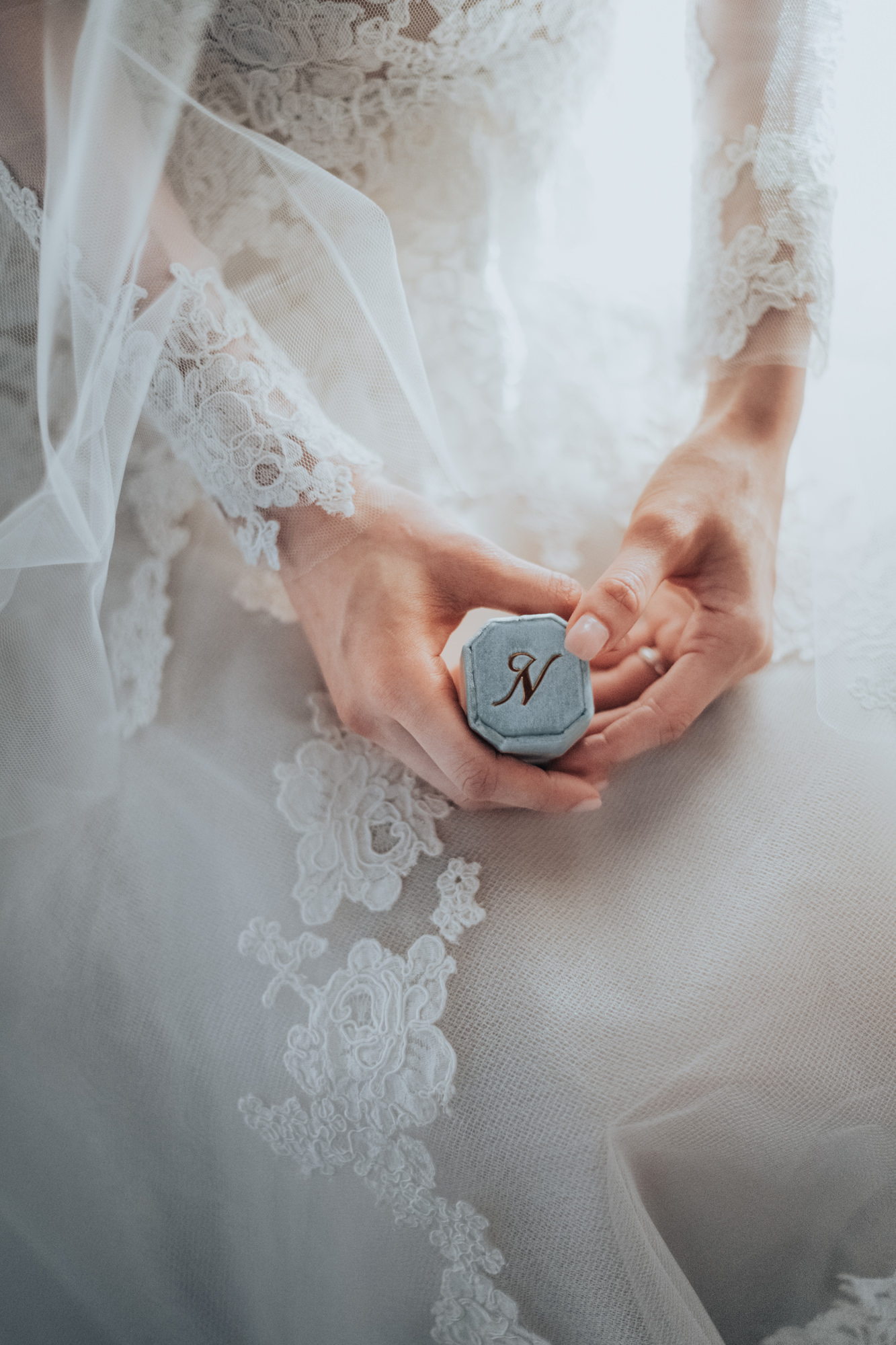 Delicate detail of bride's hands with mrs box - Photo by MunKeat Photography Studio